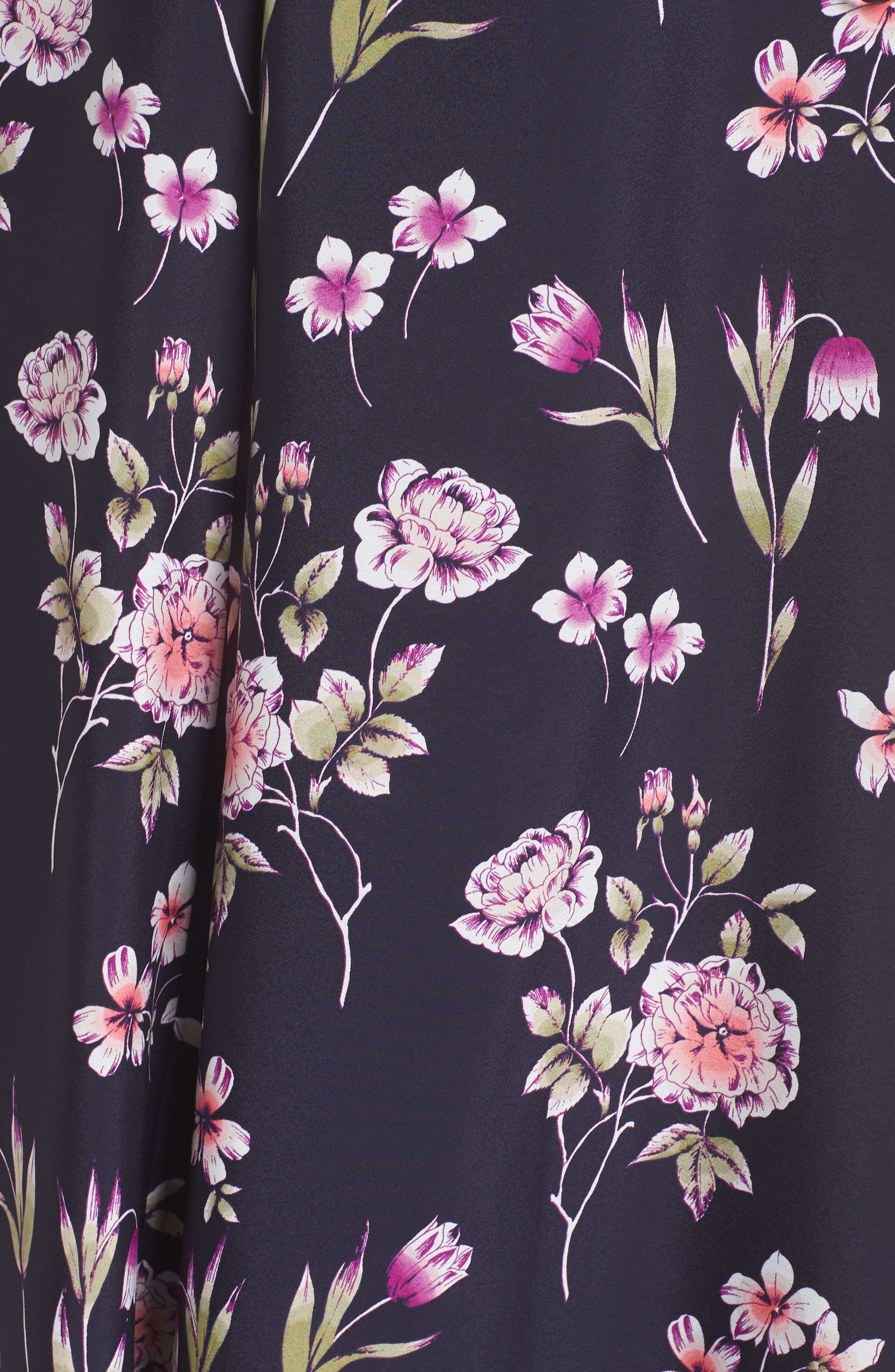Puff Sleeve Floral Wrap Midi Dress,                             Alternate thumbnail 3, color,                             Navy