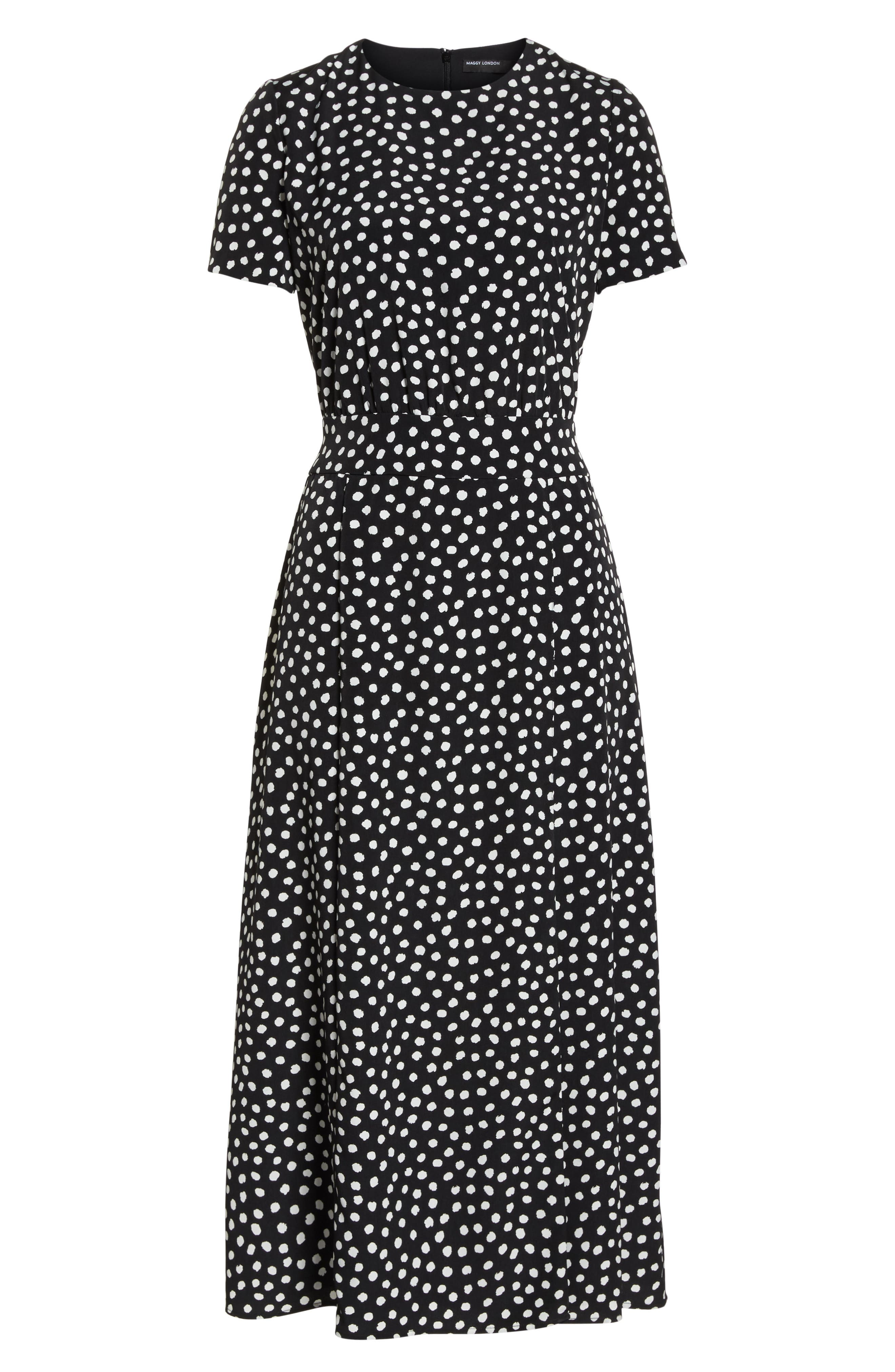 Print Midi Dress,                             Alternate thumbnail 7, color,                             Black/ Soft White