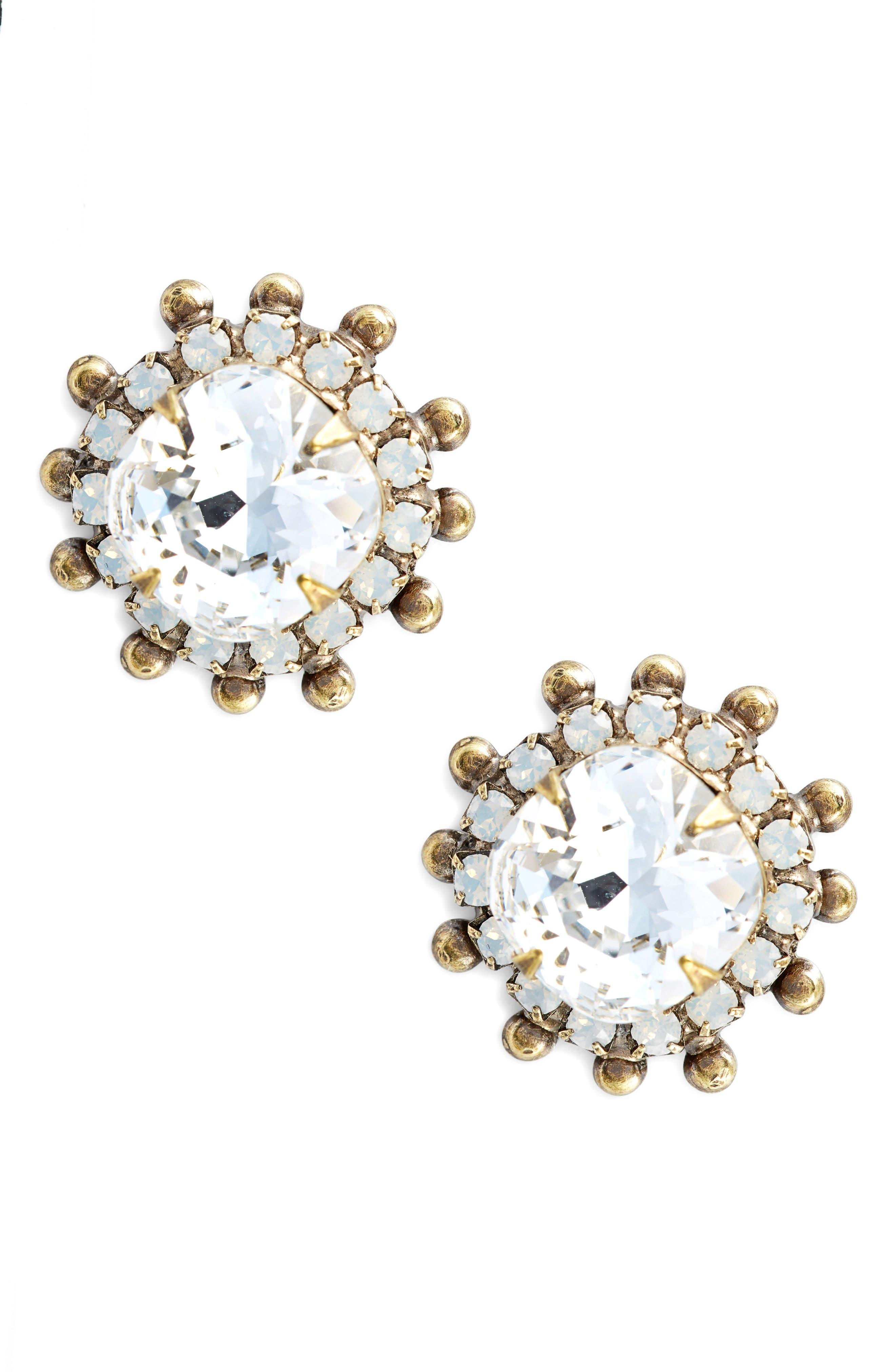 Protea Donna Crystal Earrings,                             Main thumbnail 1, color,                             Clear