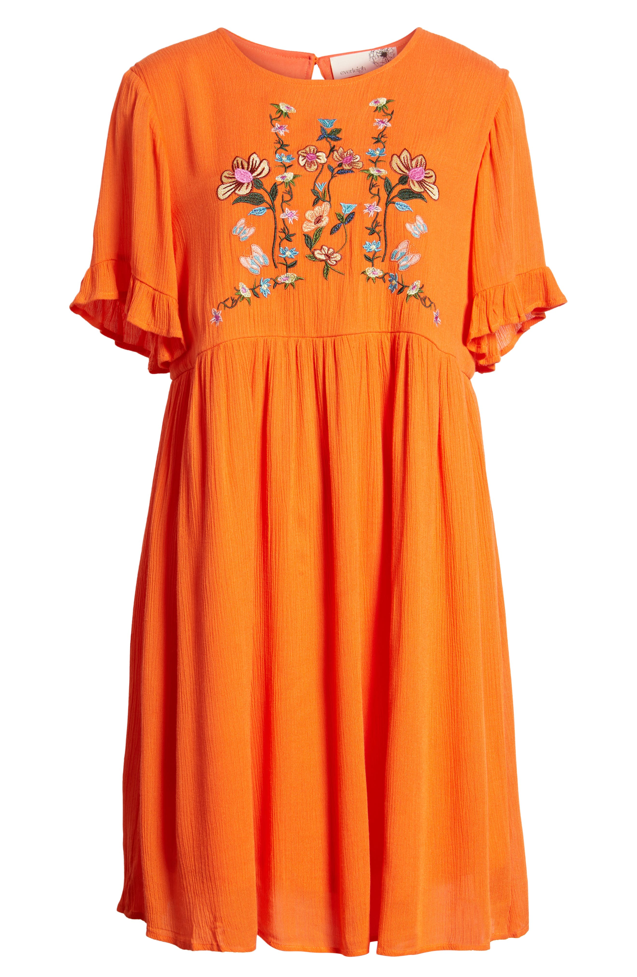 Embroidered Dress,                             Alternate thumbnail 7, color,                             Orange