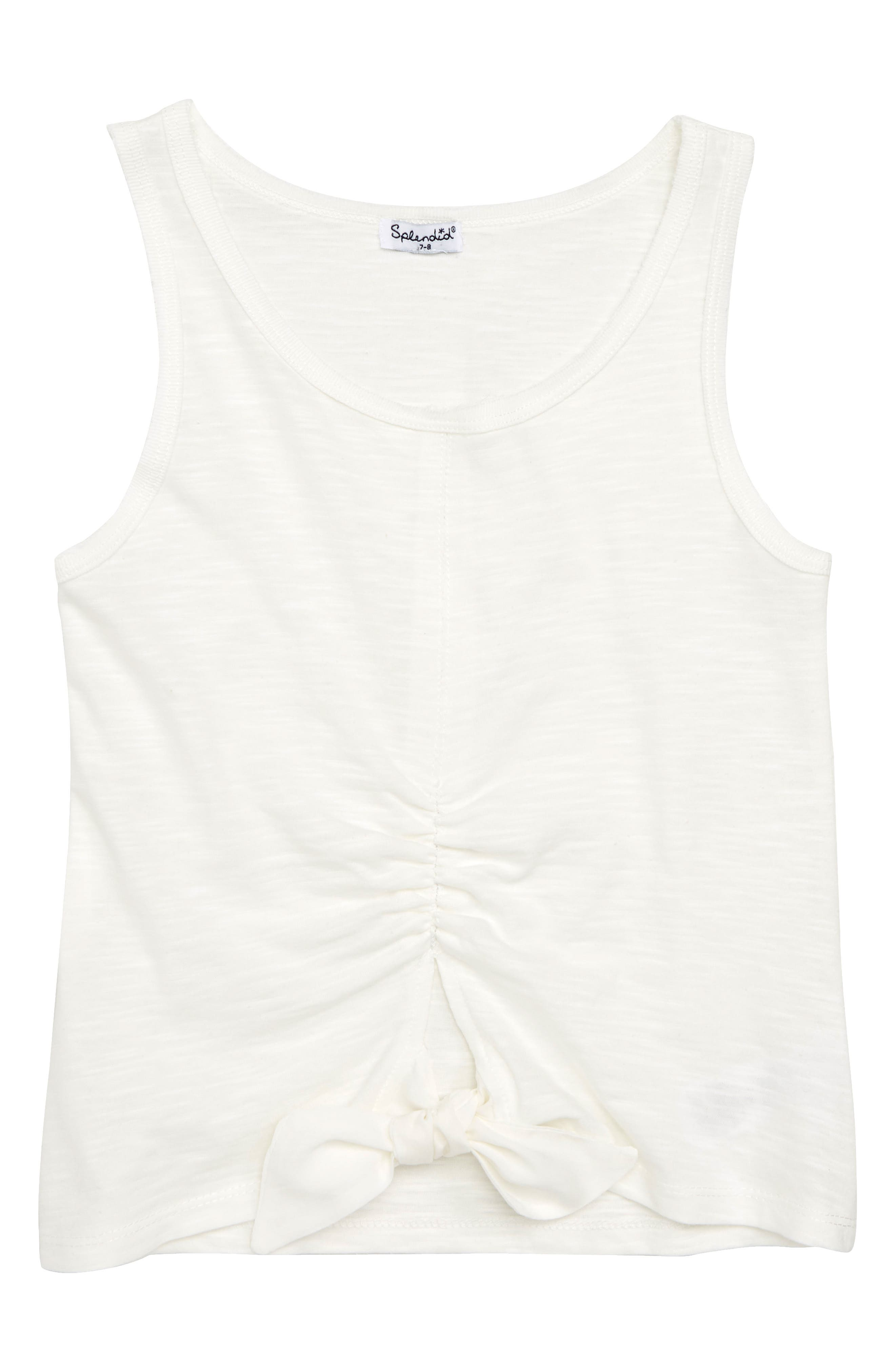 Ruched Tie Front Tank,                         Main,                         color, Off White