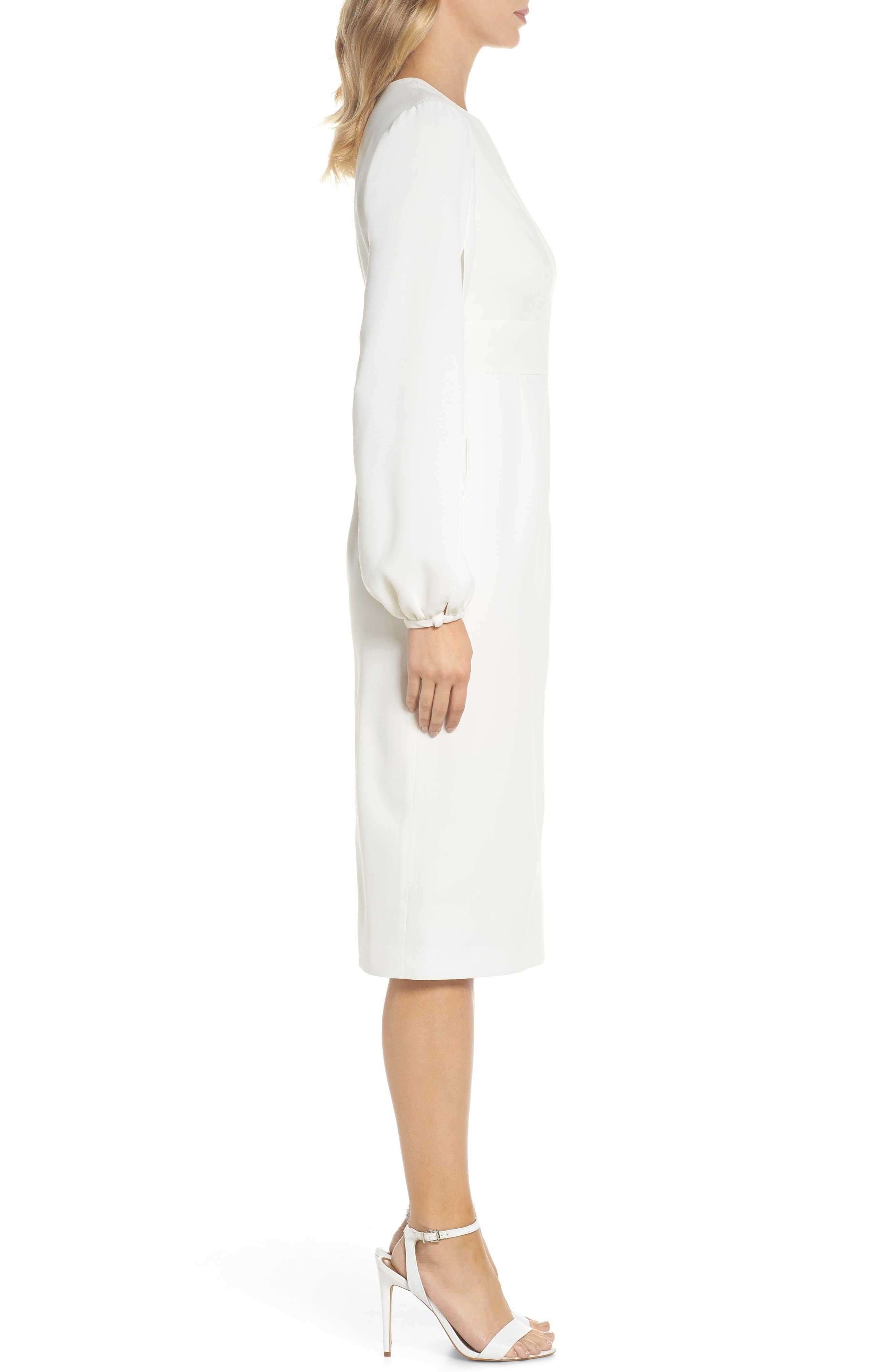 Slit Sleeve Sheath Dress,                             Alternate thumbnail 3, color,                             Off-White