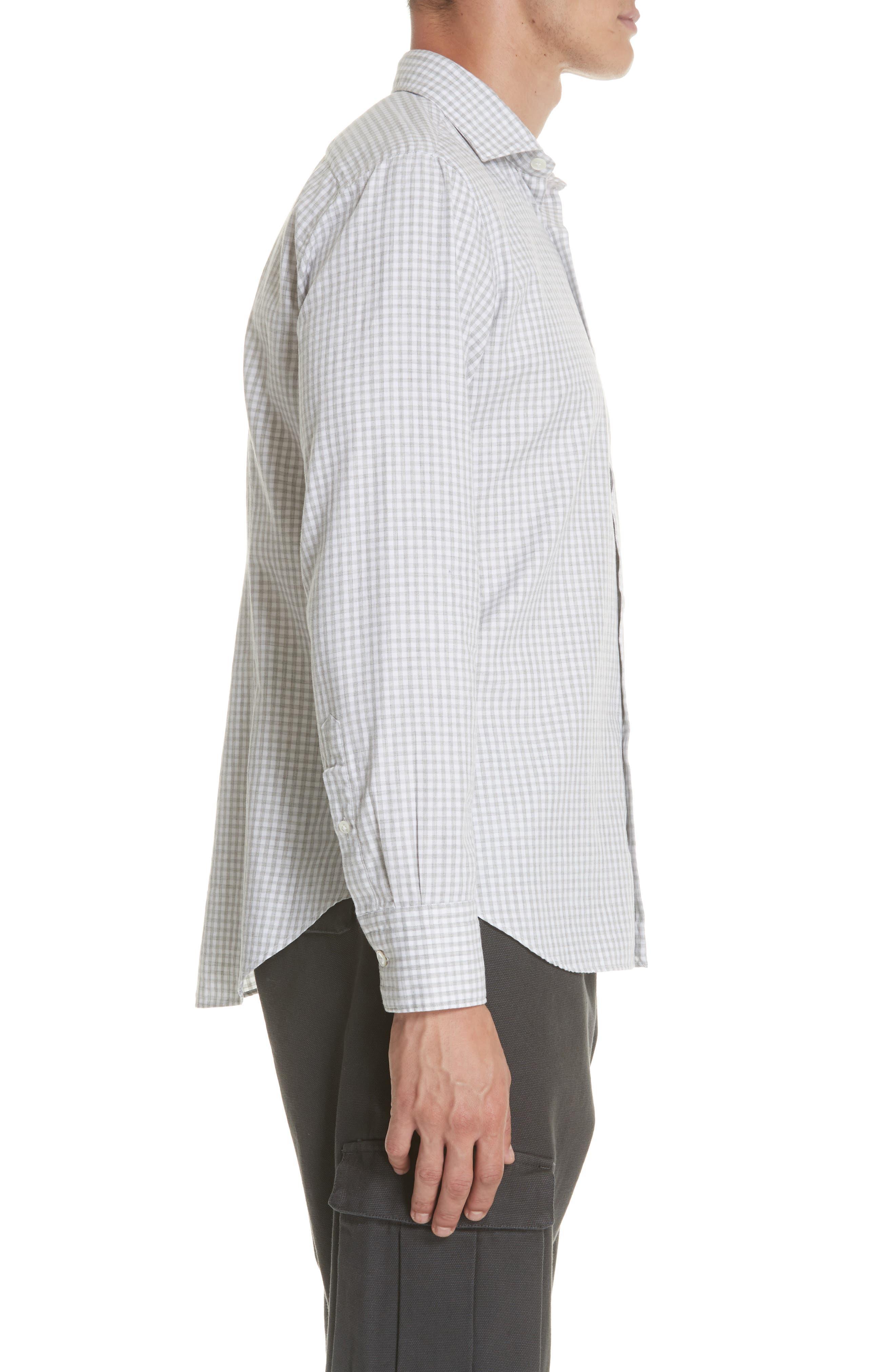 Slim Fit Check Dress Shirt,                             Alternate thumbnail 5, color,                             Light Grey