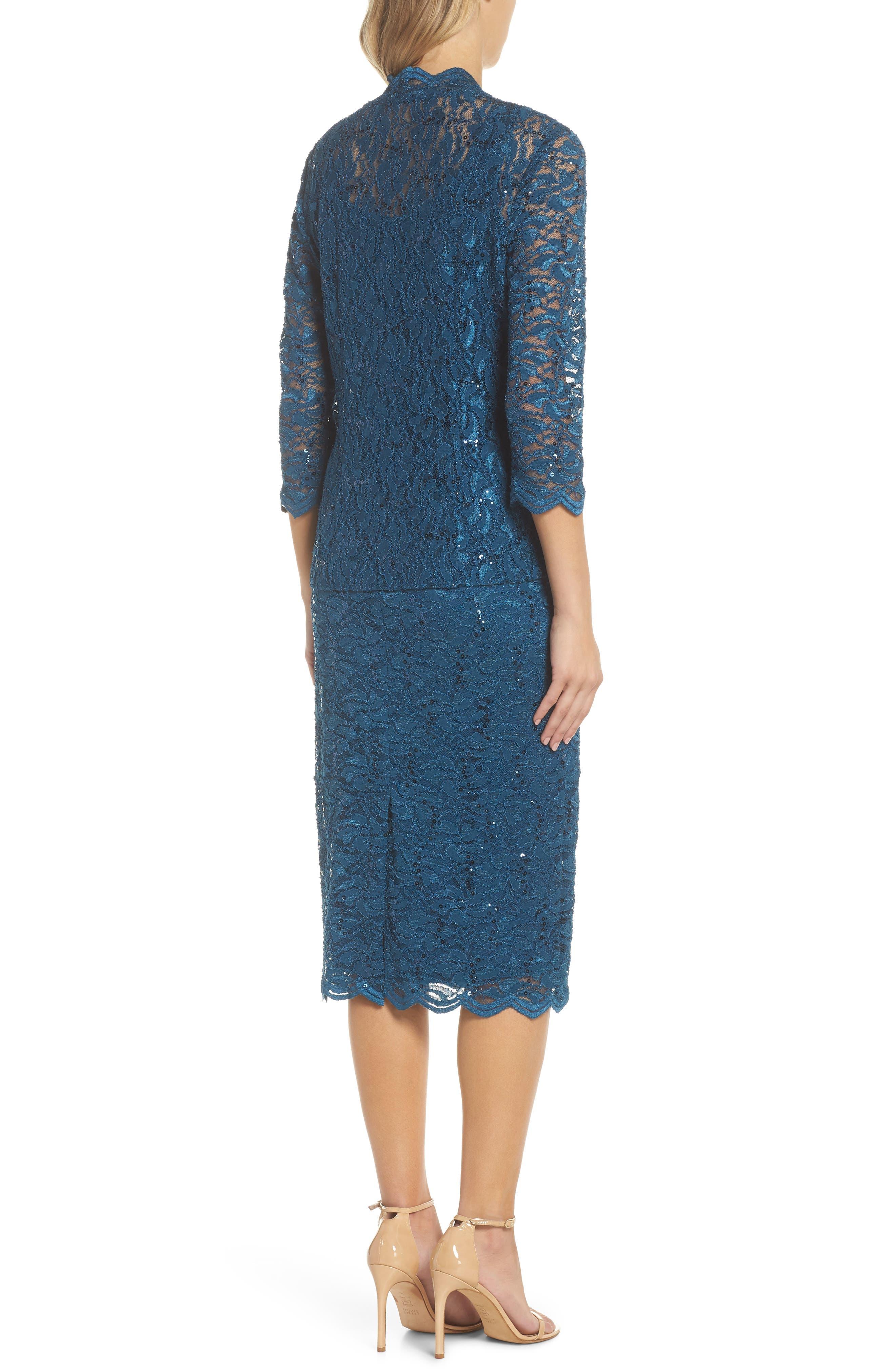 Lace Dress & Jacket,                             Alternate thumbnail 3, color,                             Peacock