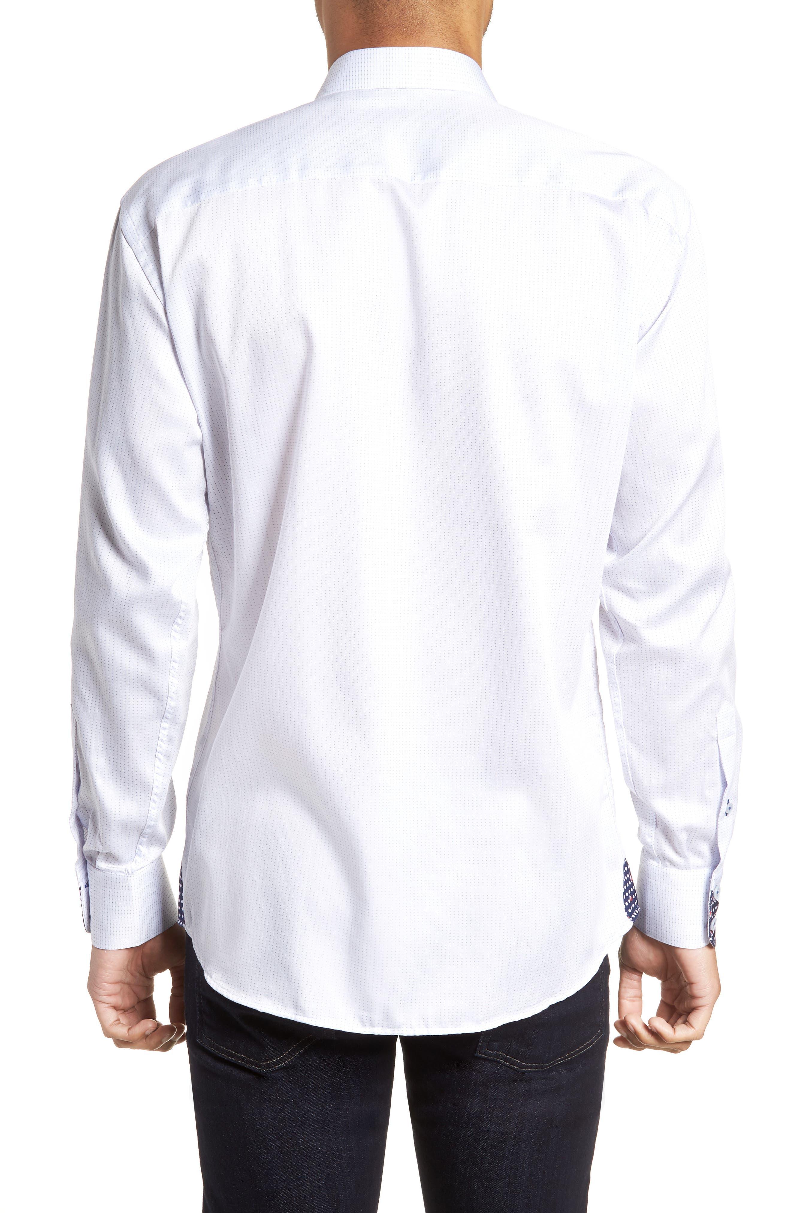 Wall Street Chelsey Dobby Sport Shirt,                             Alternate thumbnail 3, color,                             White