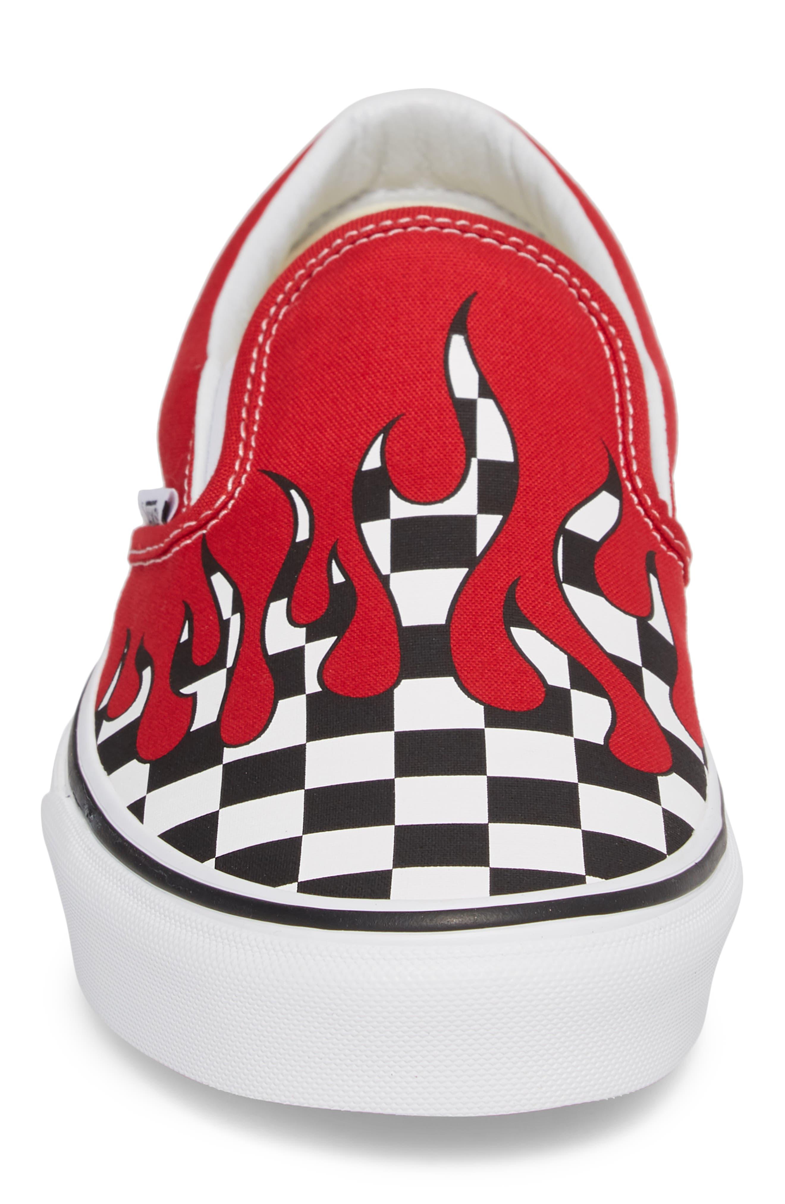 UA Classic Slip-On Sneaker,                             Alternate thumbnail 5, color,                             Racing Red/ White Checker
