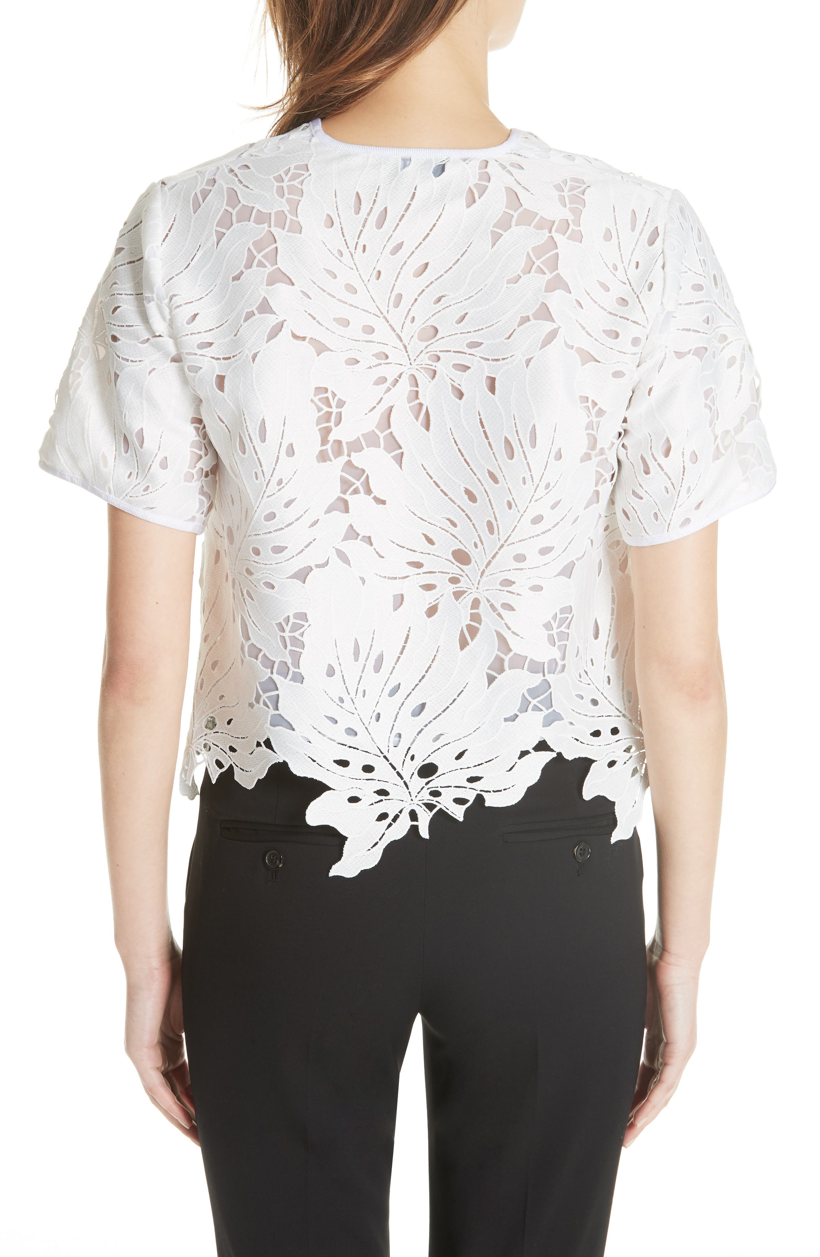 Bow Embellished Lace Top,                             Alternate thumbnail 2, color,                             White 01
