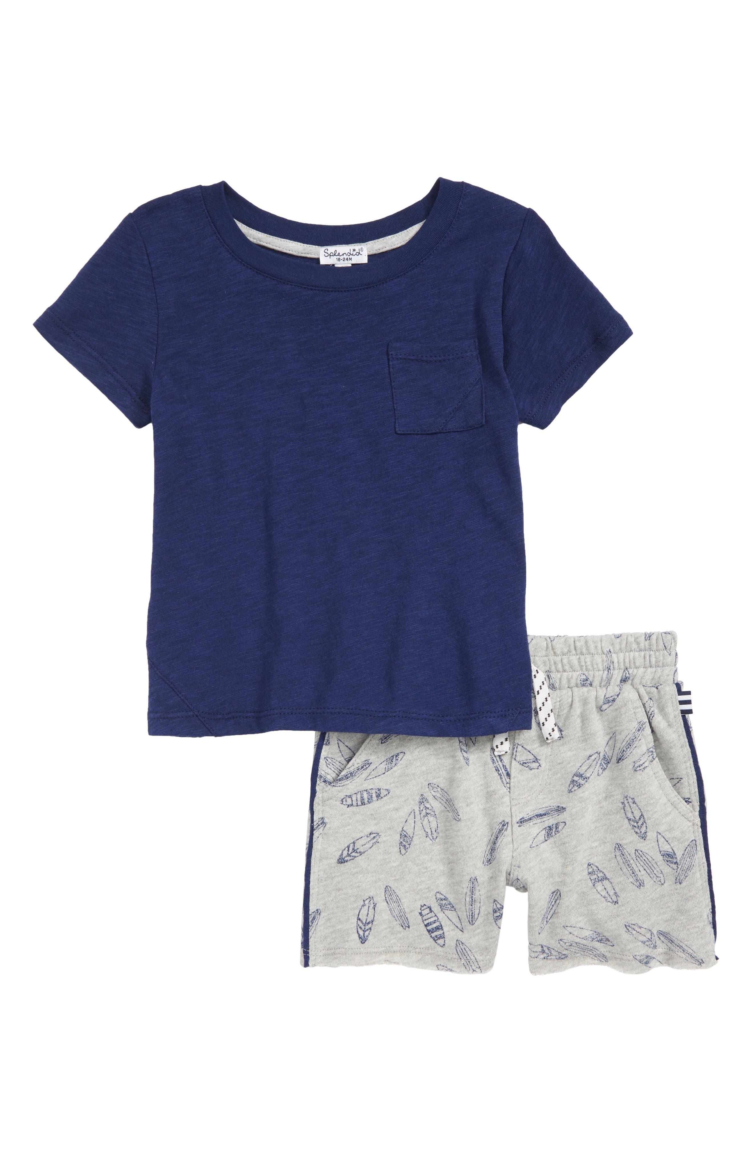 Surfboard T-Shirt & Shorts Set,                         Main,                         color, Indigo Sky