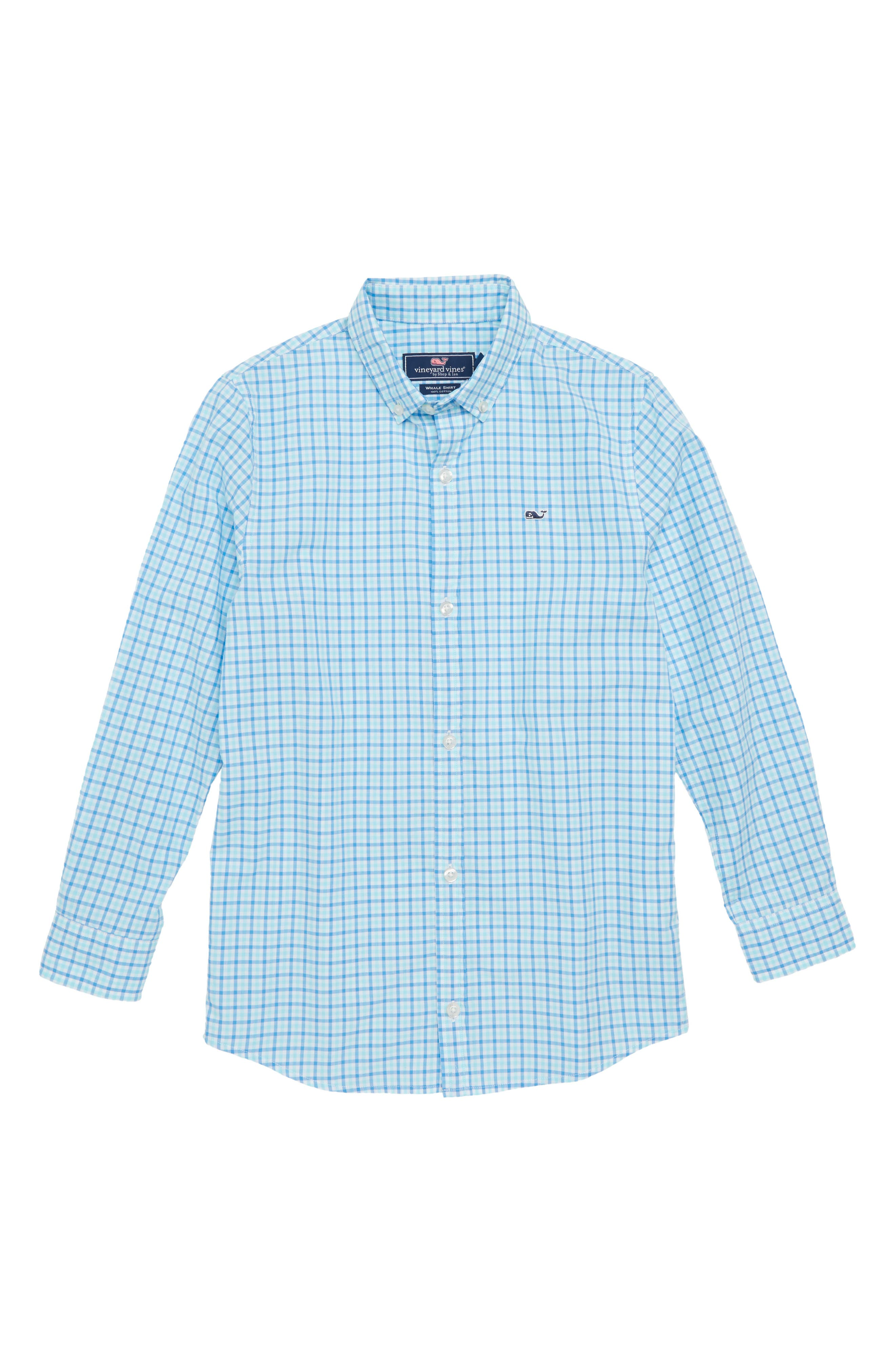 Point Gammon Gingham Whale Shirt,                             Main thumbnail 1, color,                             Poolside