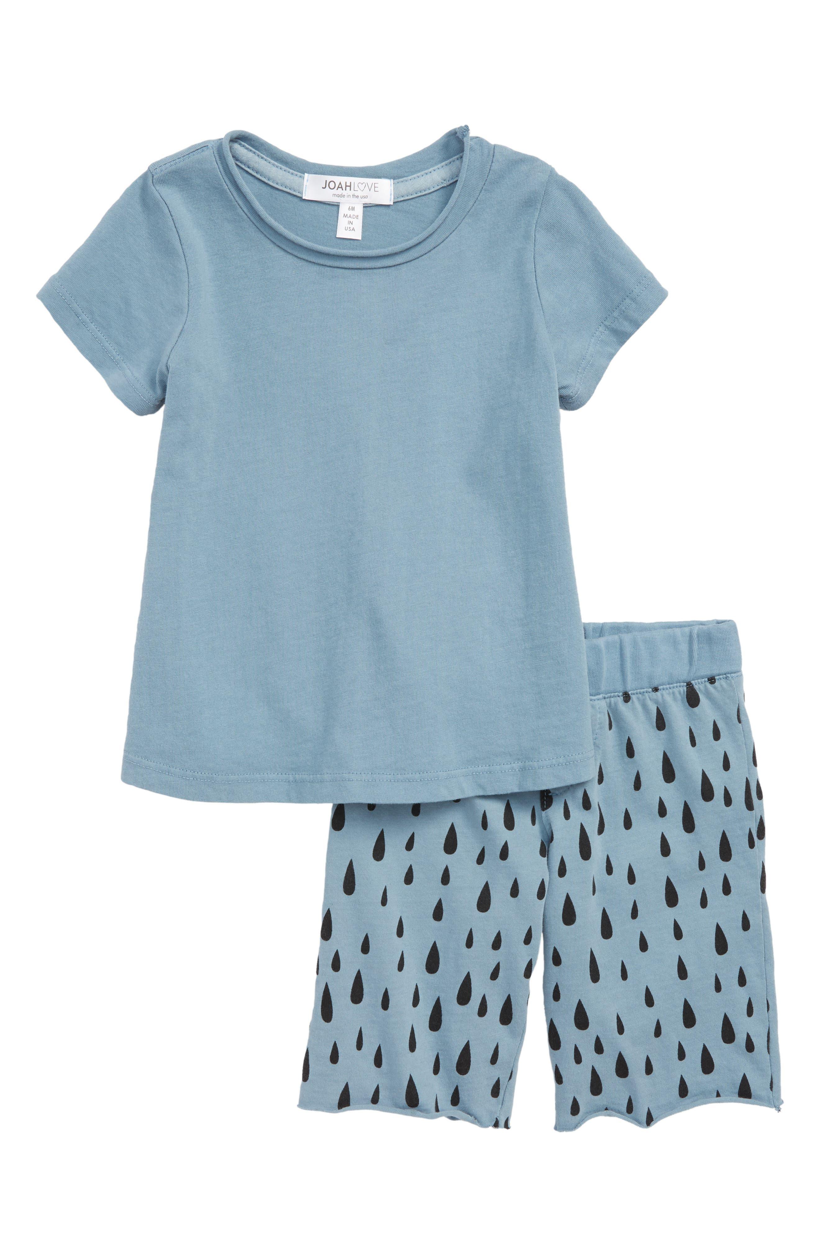 T-Shirt & Shorts Set,                             Main thumbnail 1, color,                             Lake