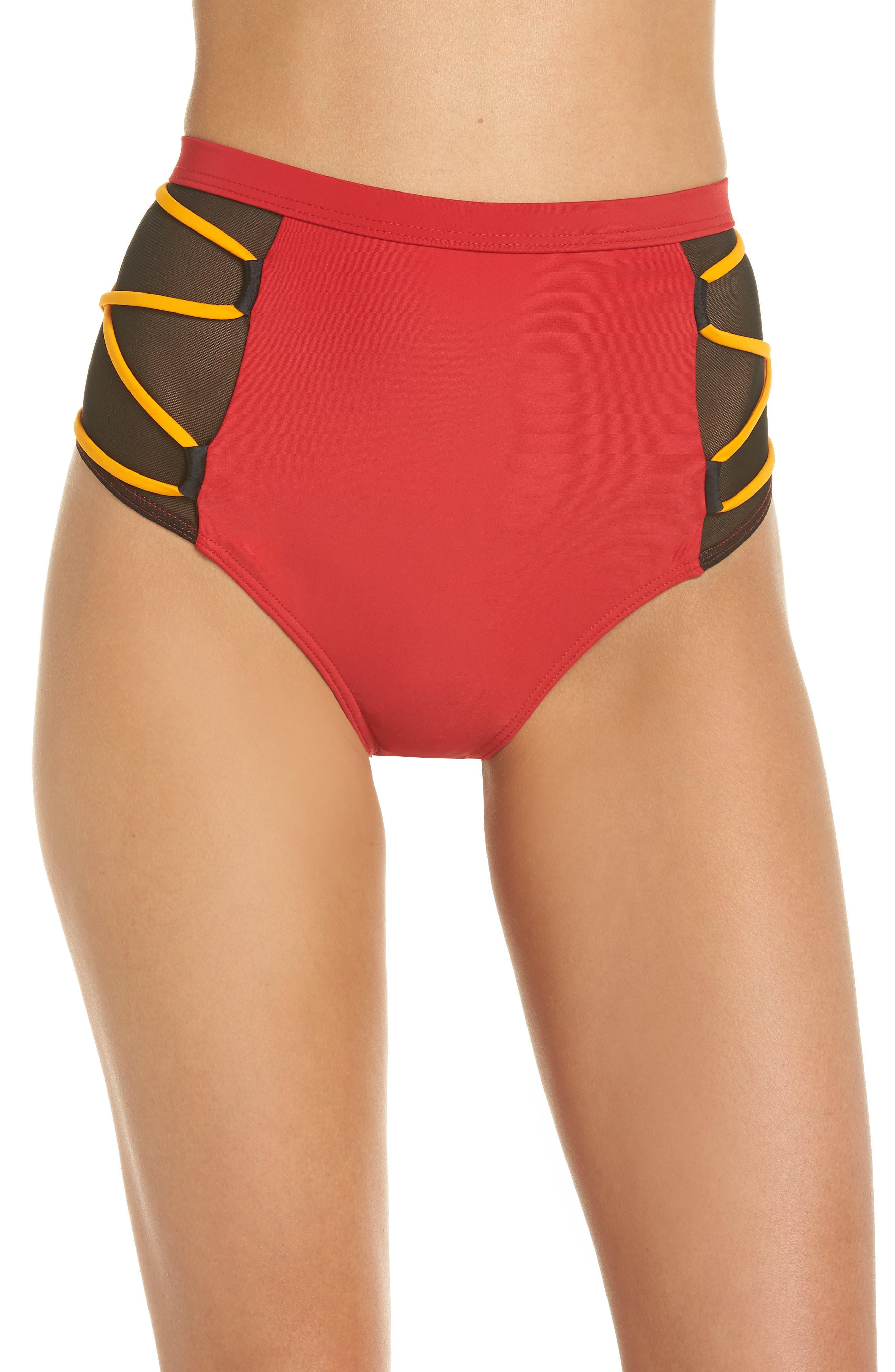 Launch Bikini Bottoms,                             Main thumbnail 1, color,                             Red/ Black/ Orange