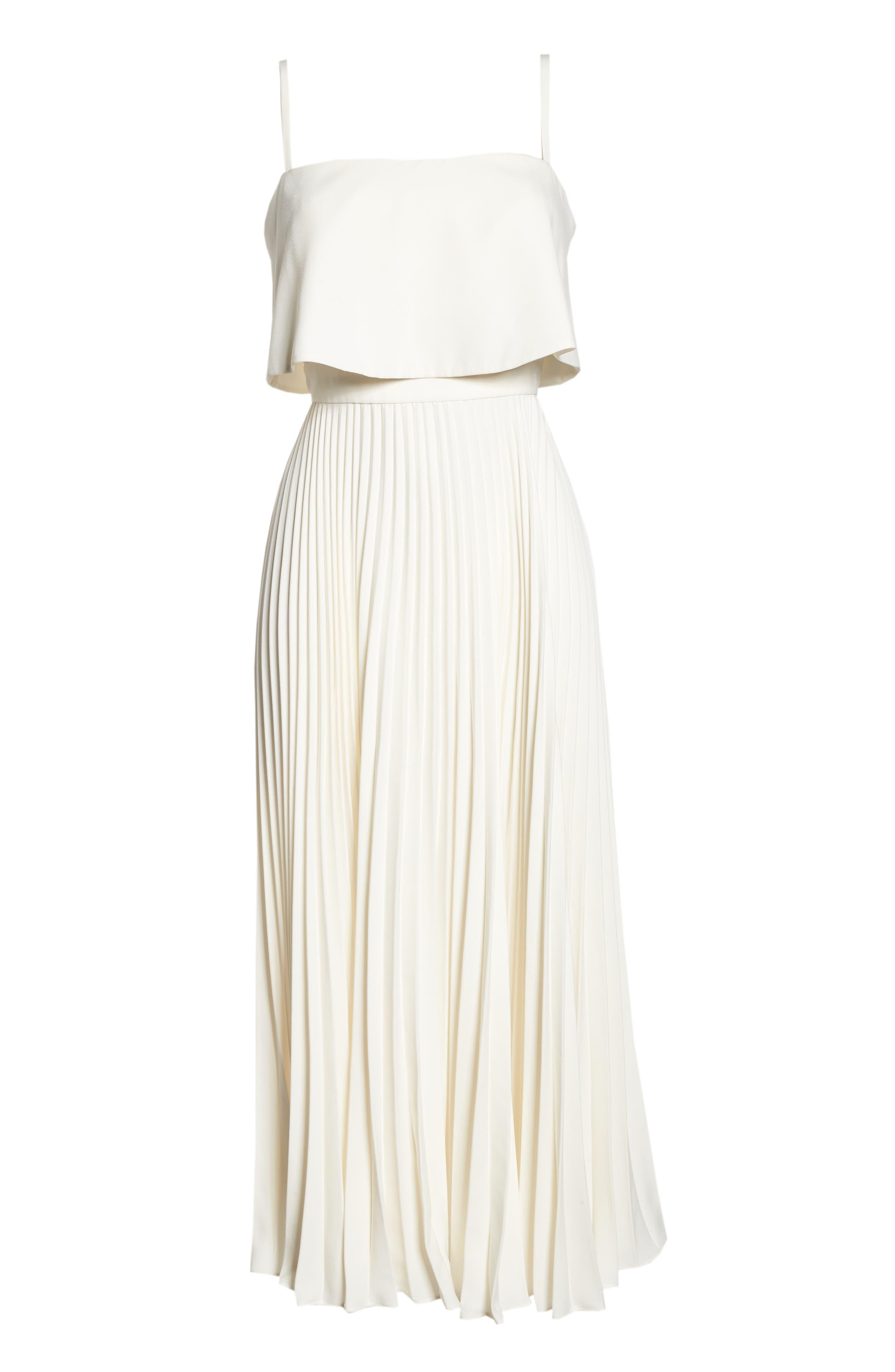 Pleated Midi Dress,                             Alternate thumbnail 6, color,                             Bone