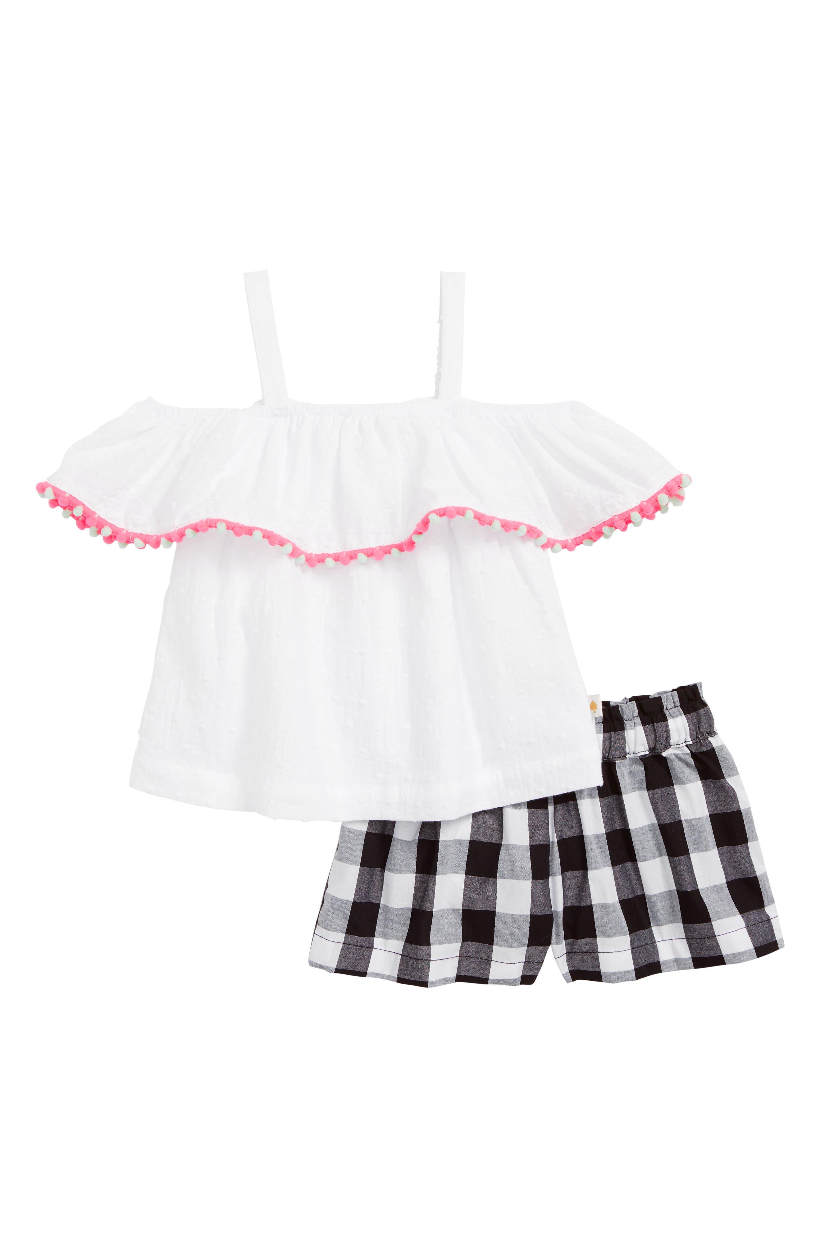 cold shoulder top & gingham shorts,                         Main,                         color, Fresh White