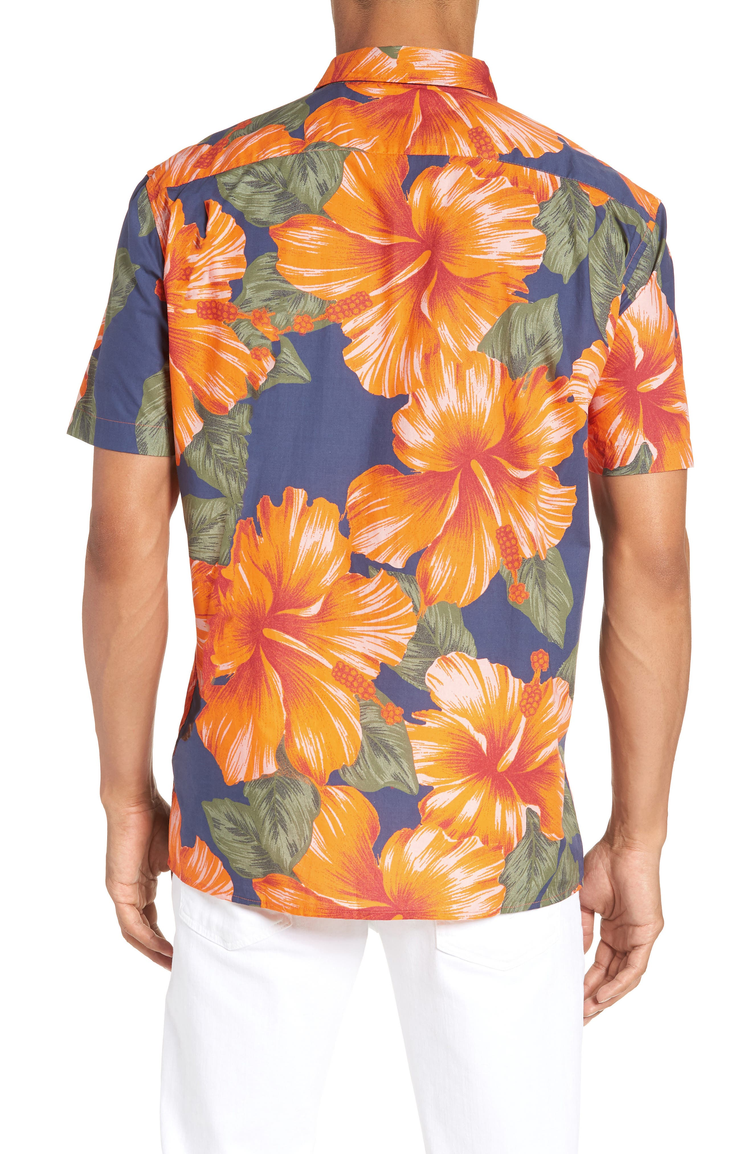 Wela Regular Fit Hawaiian Camp Shirt,                             Alternate thumbnail 5, color,                             Deep Cobalt