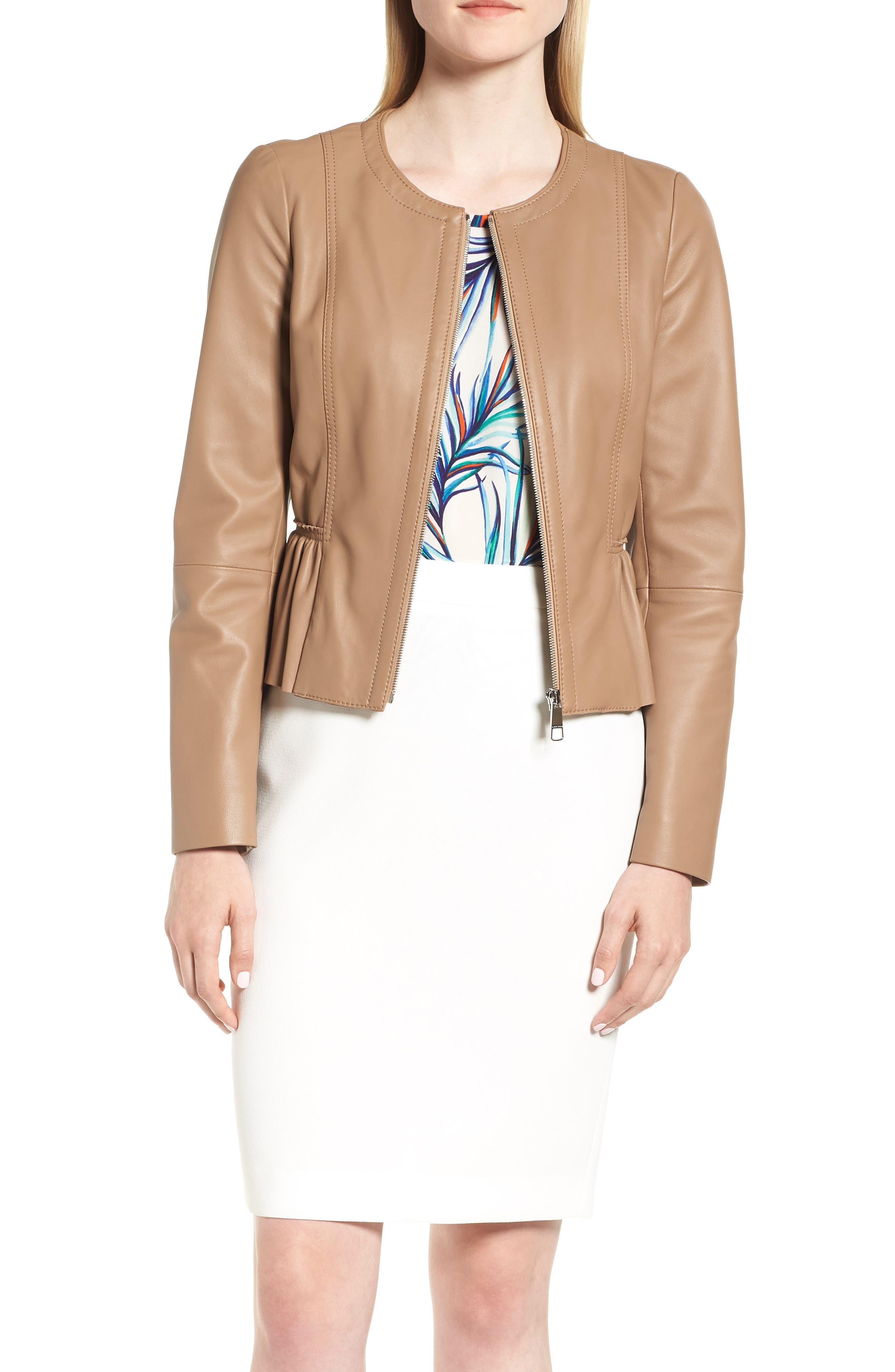 Sahota Leather Jacket,                         Main,                         color, Warm Clay
