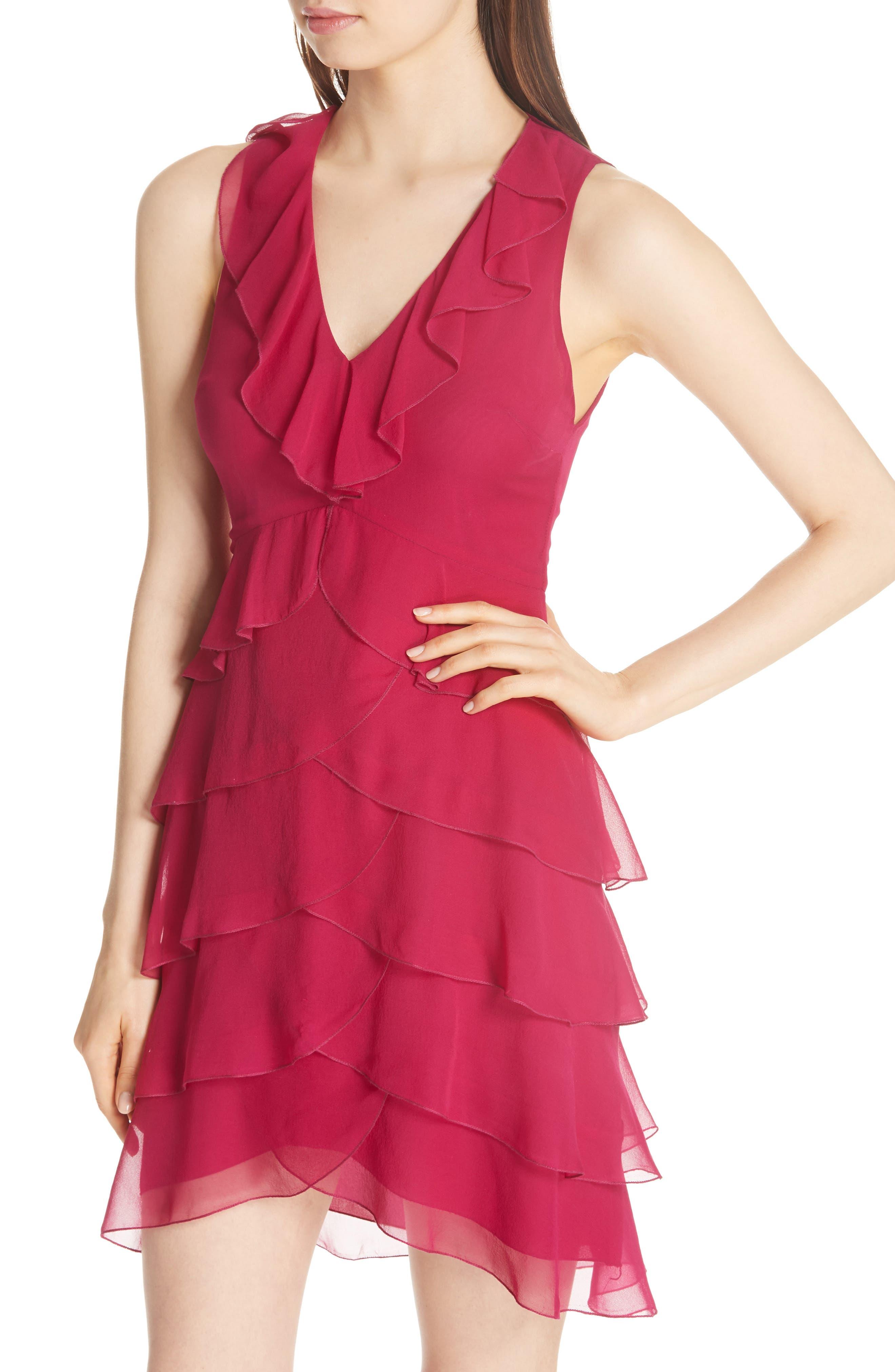 Felicita Ruffle Silk Dress,                             Alternate thumbnail 3, color,                             Raspberry