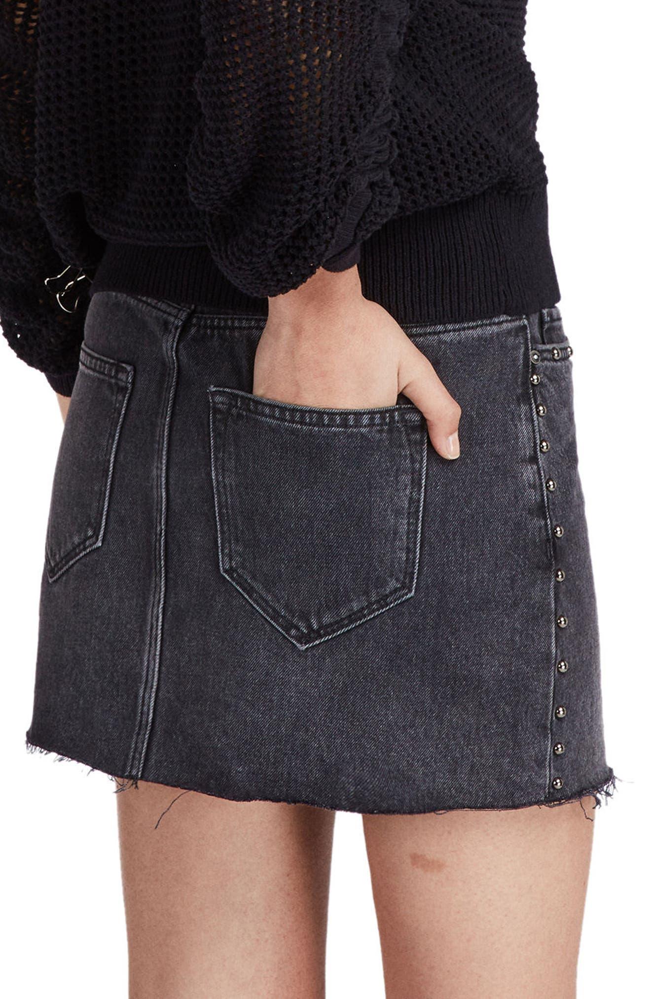 Studded Denim Skirt,                             Alternate thumbnail 2, color,                             Washed Black