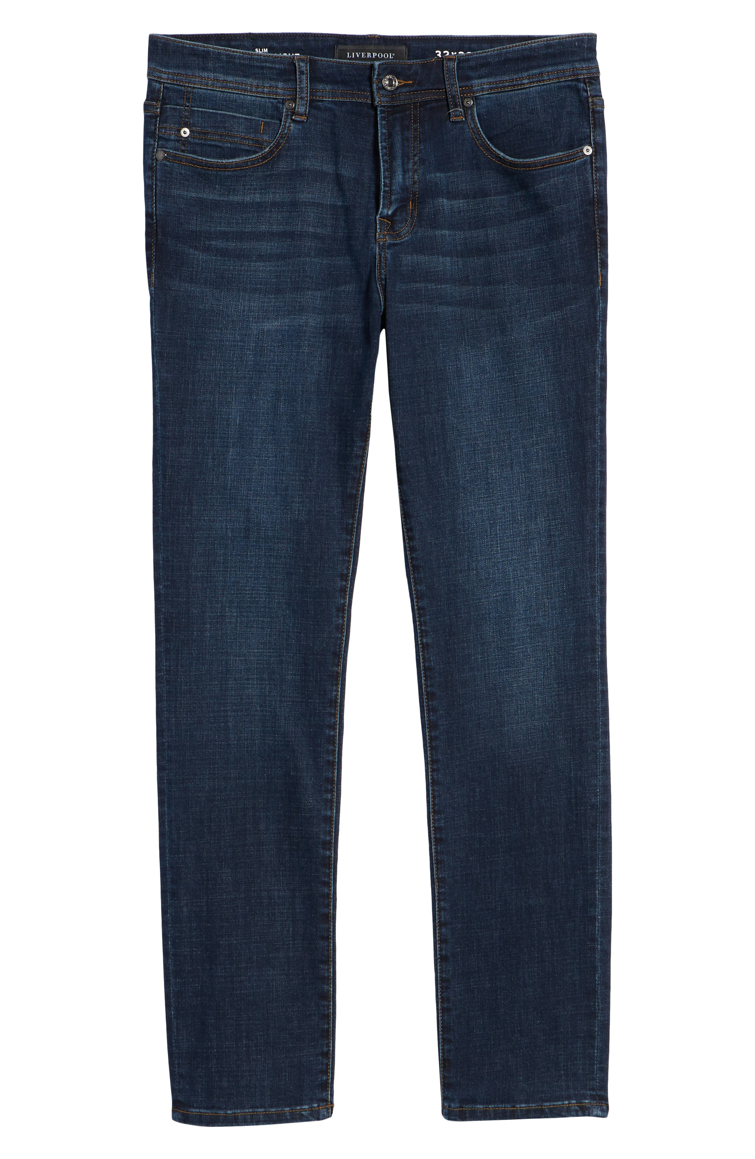 Slim Straight Leg Jeans,                             Alternate thumbnail 6, color,                             Navajo Dark