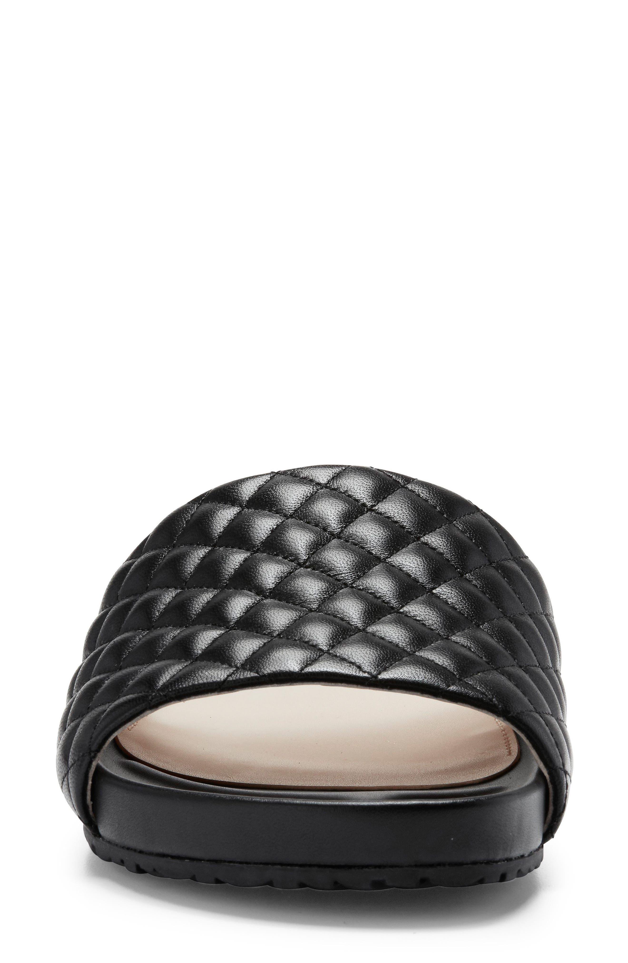Pinch Montauk Slide Sandal,                             Alternate thumbnail 4, color,                             Black Quilted Leather
