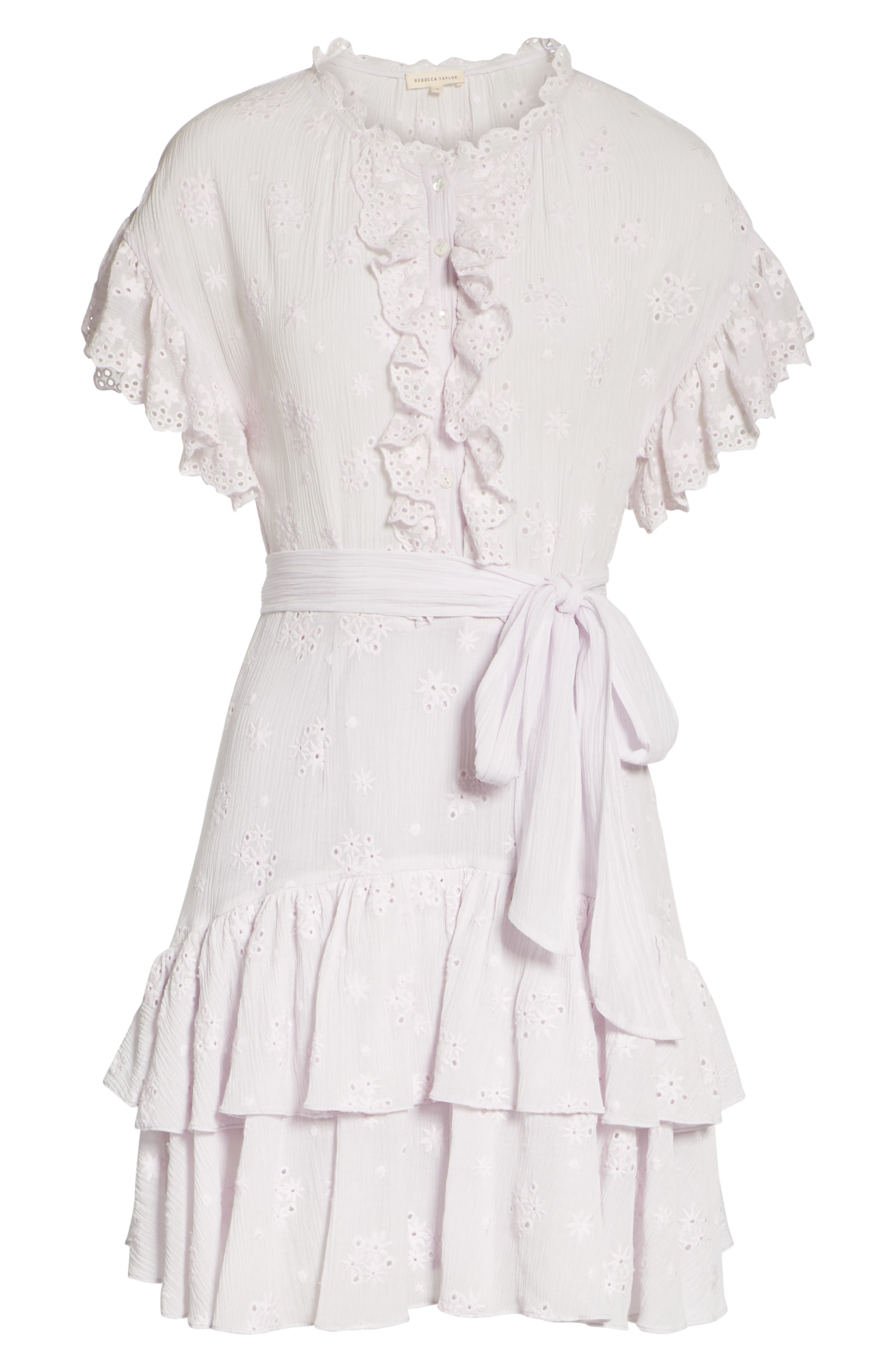 Dree Embroidered Ruffle Dress,                             Alternate thumbnail 6, color,                             Faded Lavender