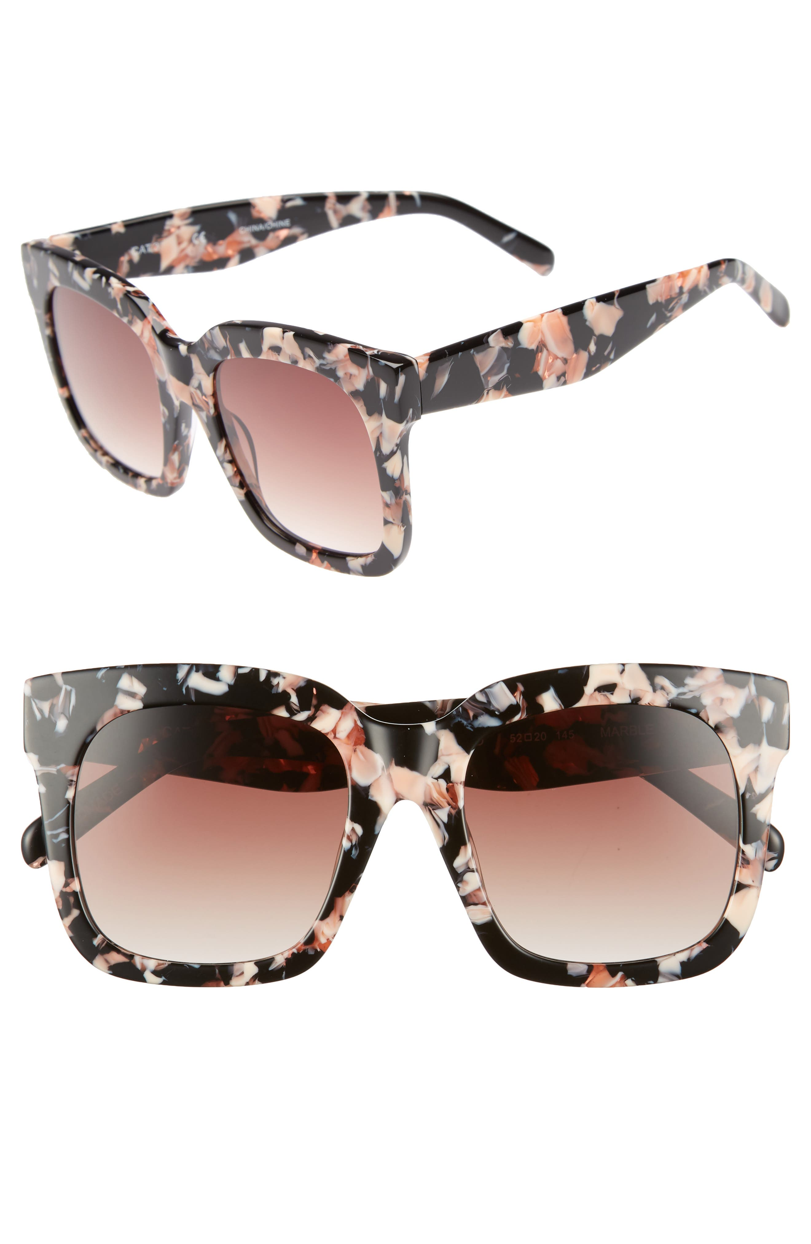 Coco 52mm Sunglasses,                         Main,                         color, Black Pink Marble