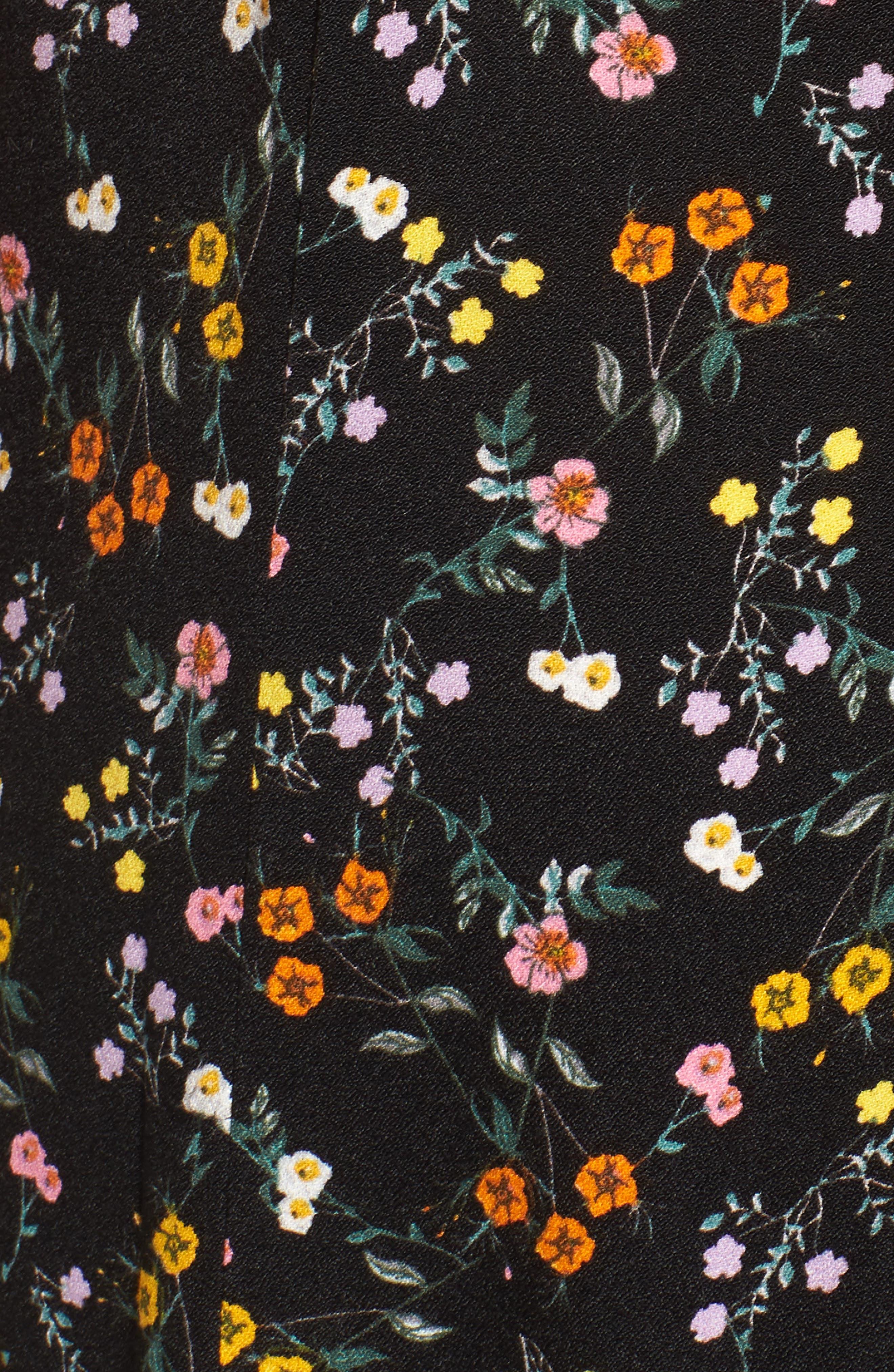 Kiki Ruffle Maxi Dress,                             Alternate thumbnail 6, color,                             Noir Petite Fleur