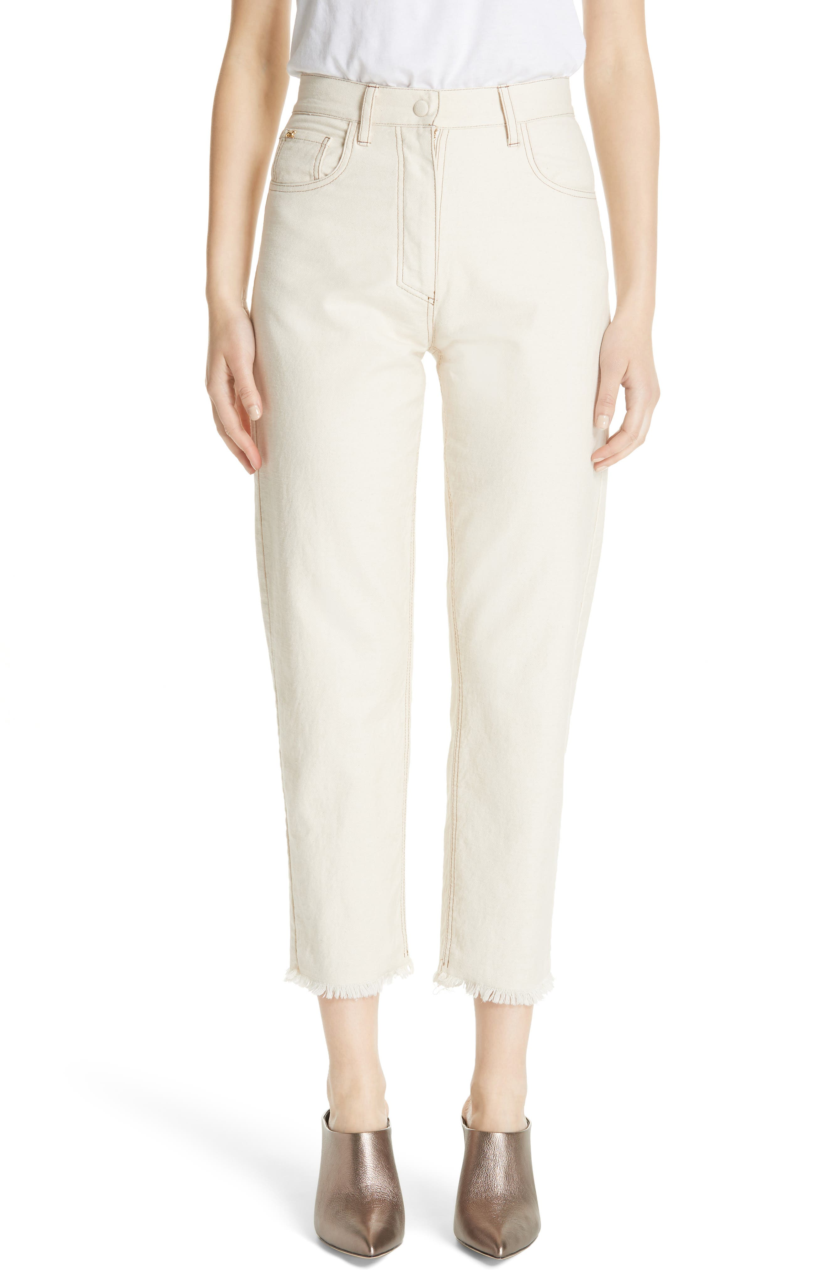 Rupa Cropped High-Waisted Jeans in Neutrals