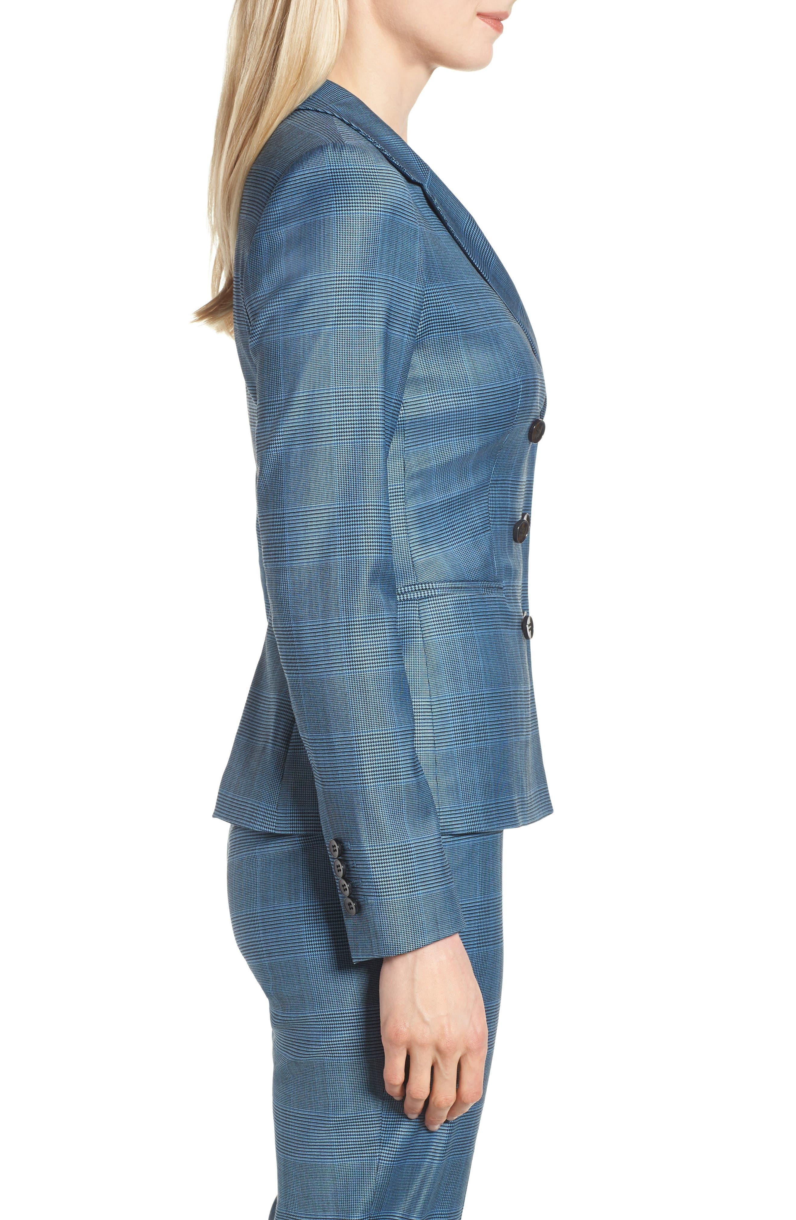 Jelaya Glencheck Double Breasted Suit Jacket,                             Alternate thumbnail 3, color,                             Sailor Blue Fantasy