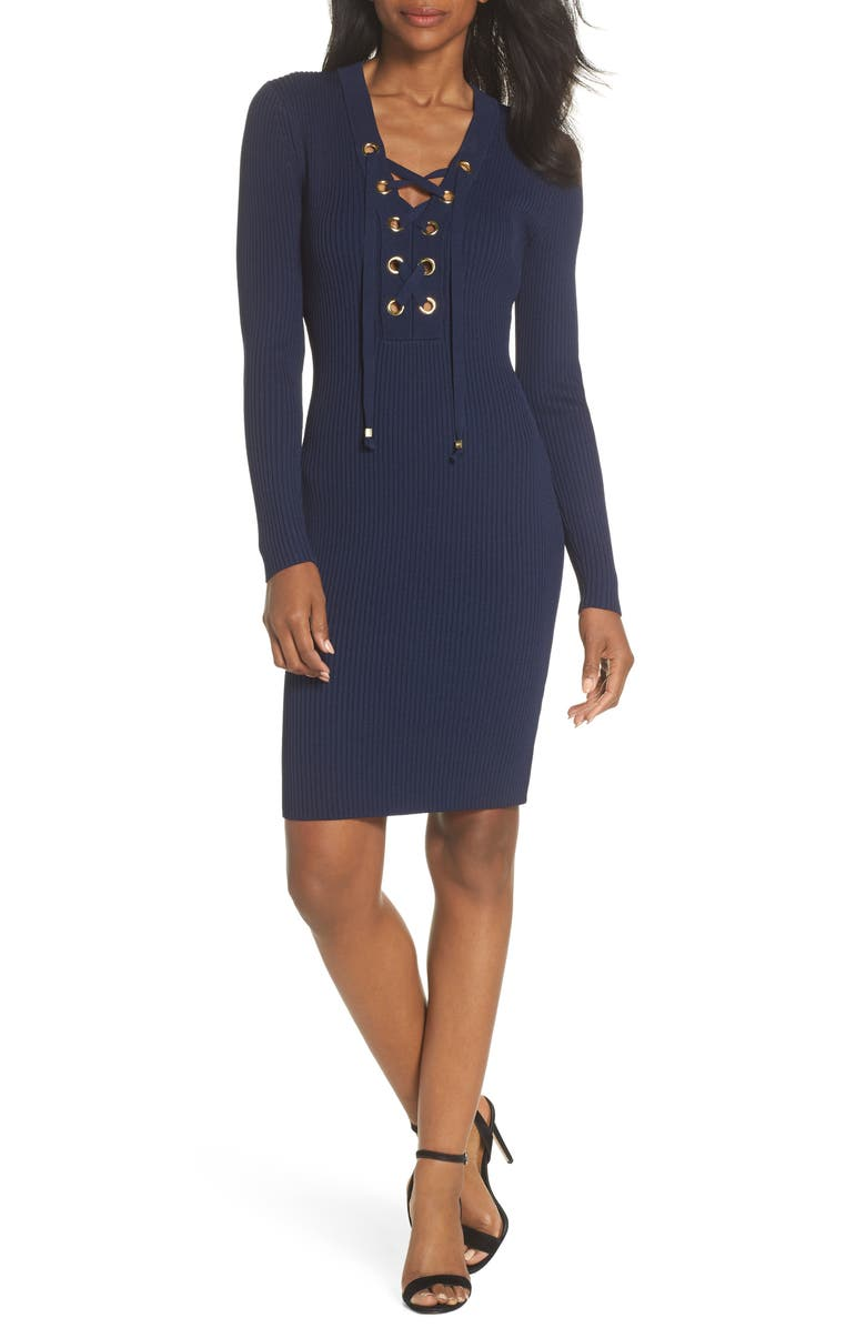 Michael Kors Lace-Up Rib Sweater Dress | Nordstrom