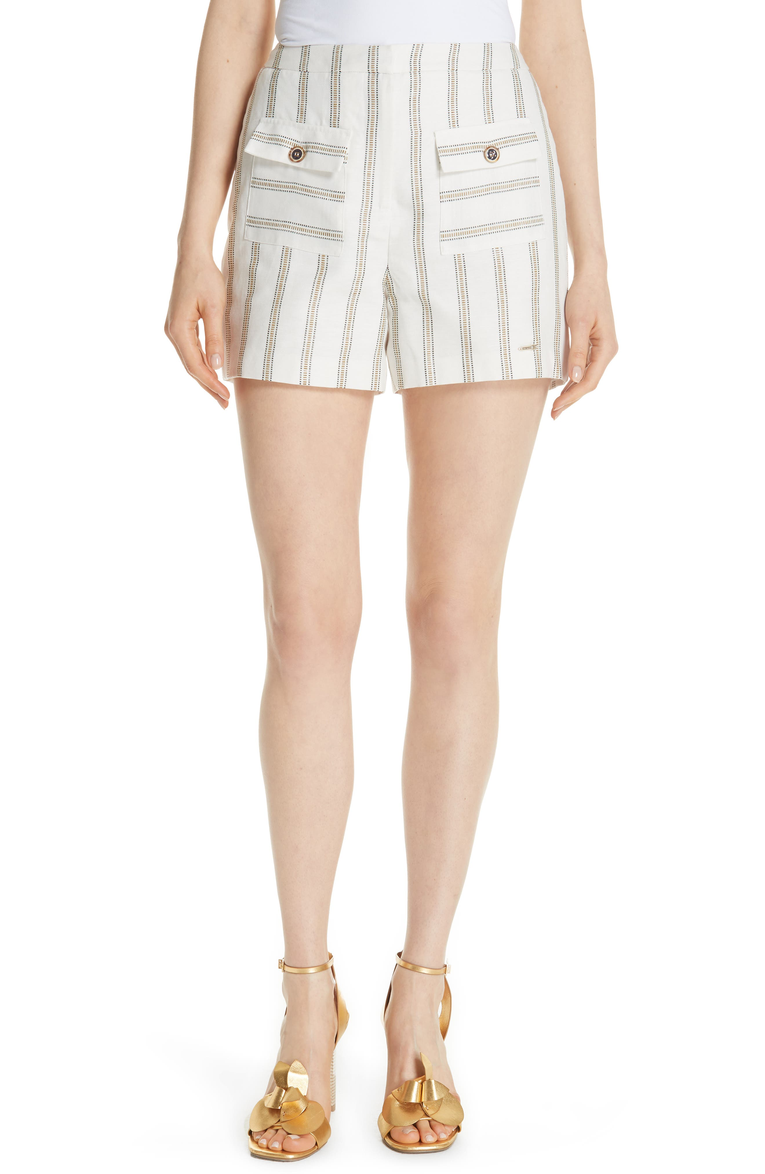 Colour by Numbers Helenn Stripe Shorts,                         Main,                         color, Ivory