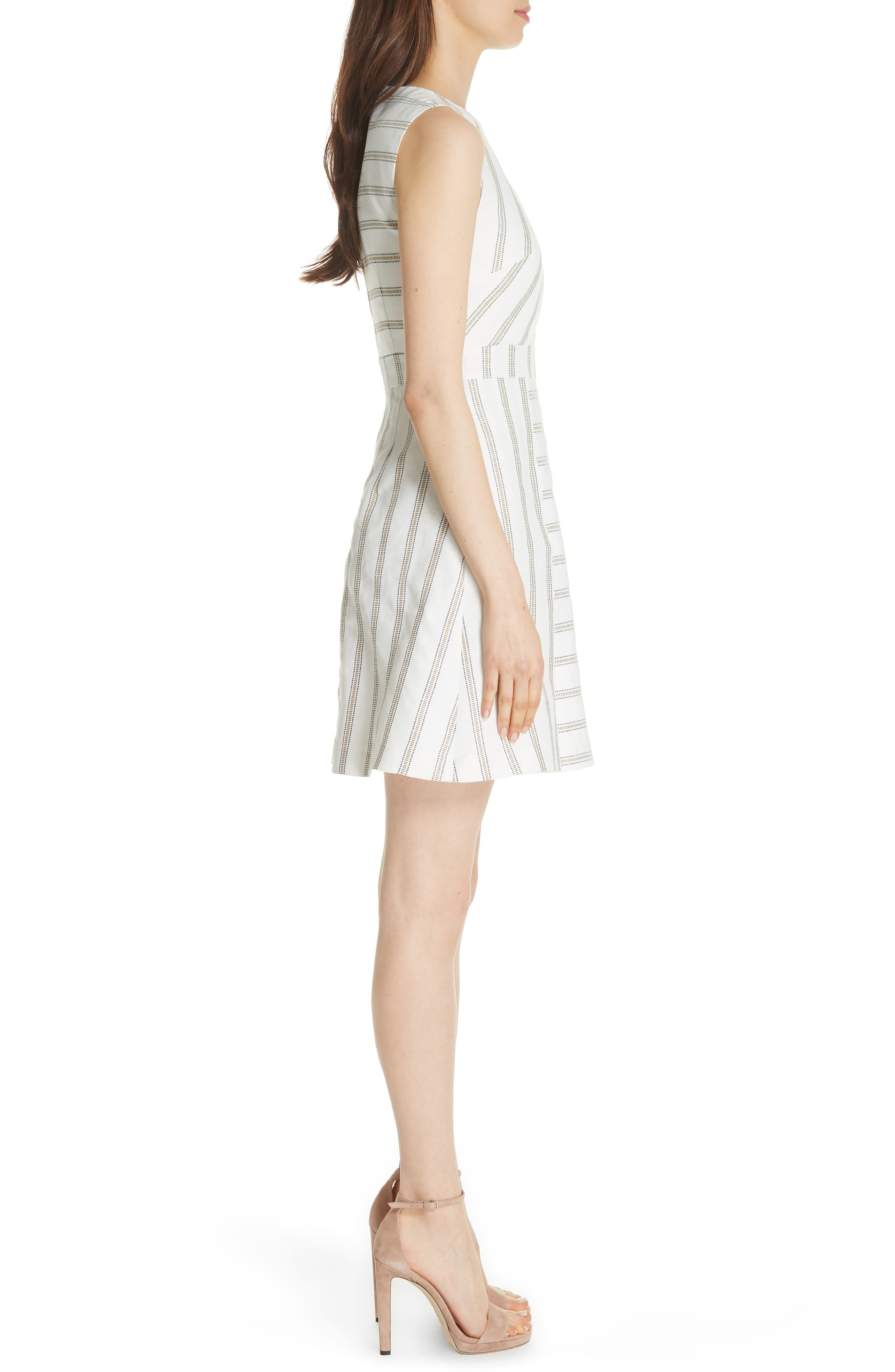 Colour by Numbers Cross Front Skater Dress,                             Alternate thumbnail 3, color,                             Ivory