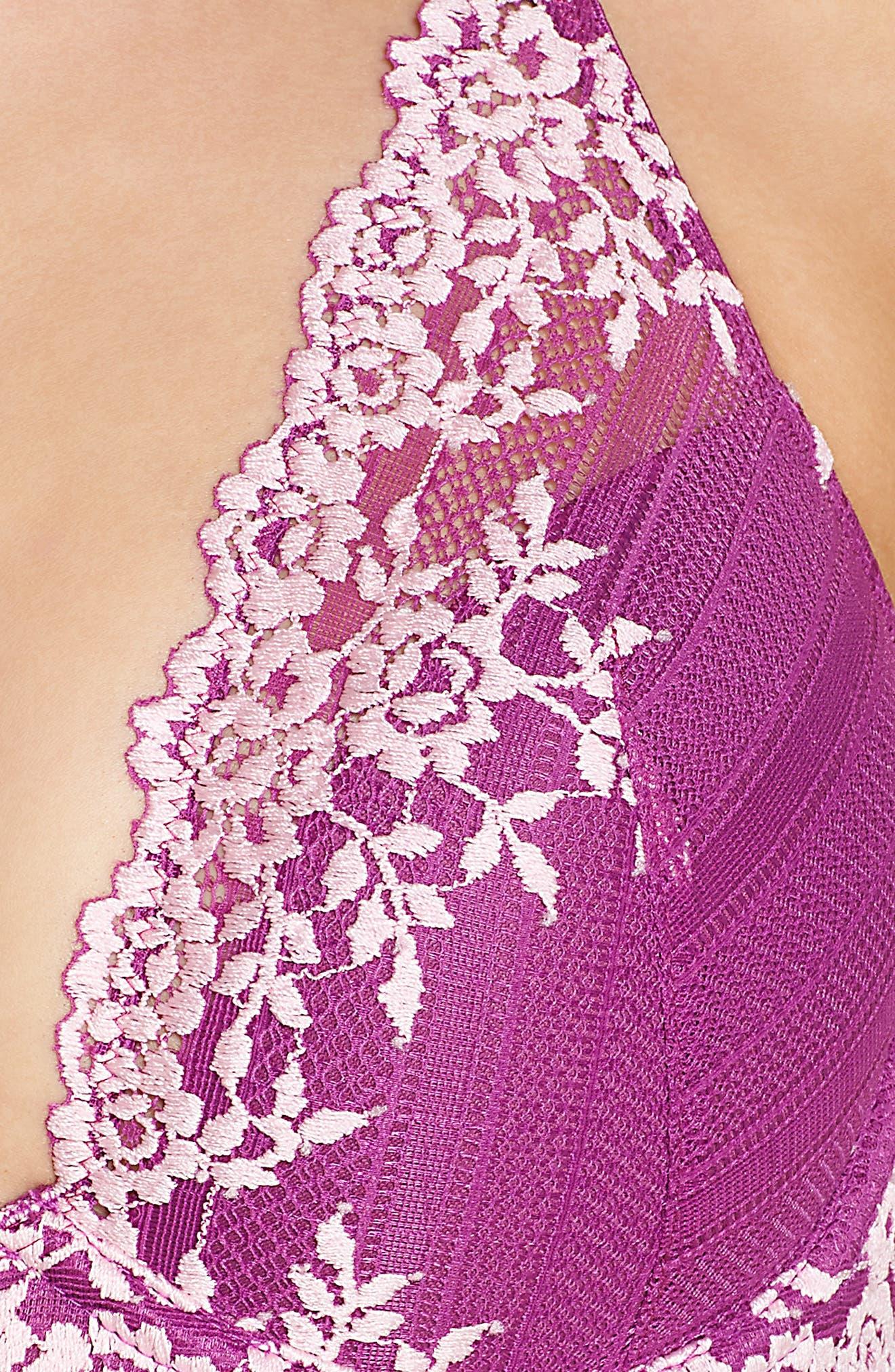 Embrace Lace Underwire Contour Bra,                             Alternate thumbnail 9, color,                             Hollyhock/ Chalk Pink