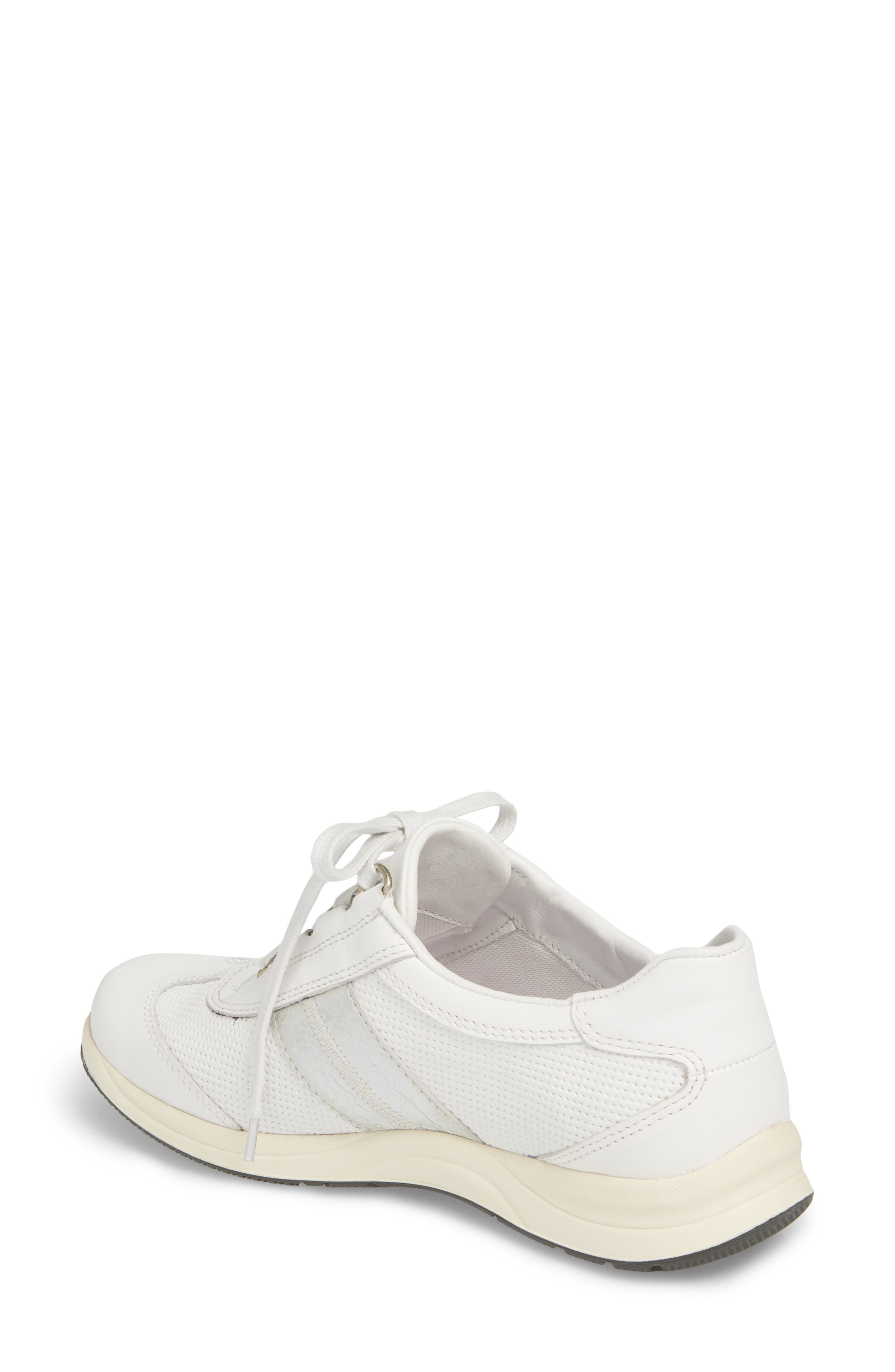 Laser Perforated Walking Shoe,                             Alternate thumbnail 2, color,                             White Fabric