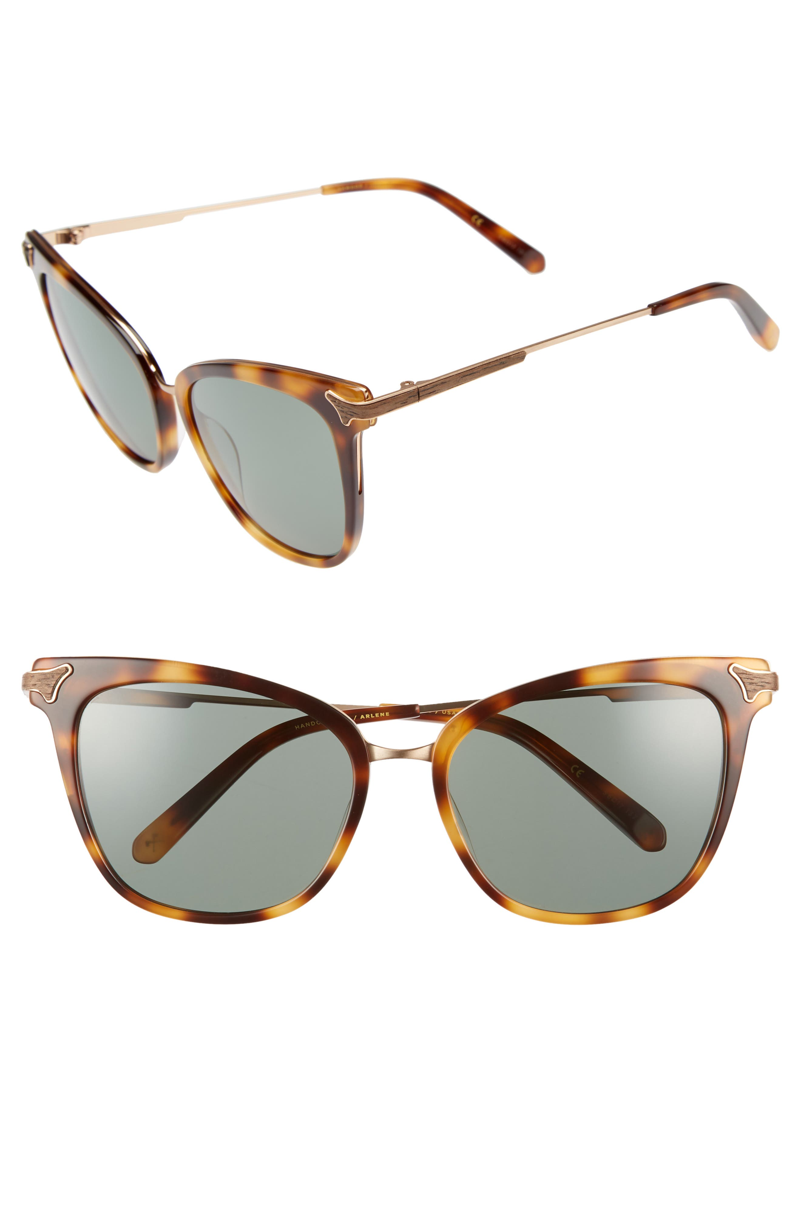 ARLENE 56MM POLARIZED CAT EYE SUNGLASSES - TORTOISE/GOLD/ GREEN