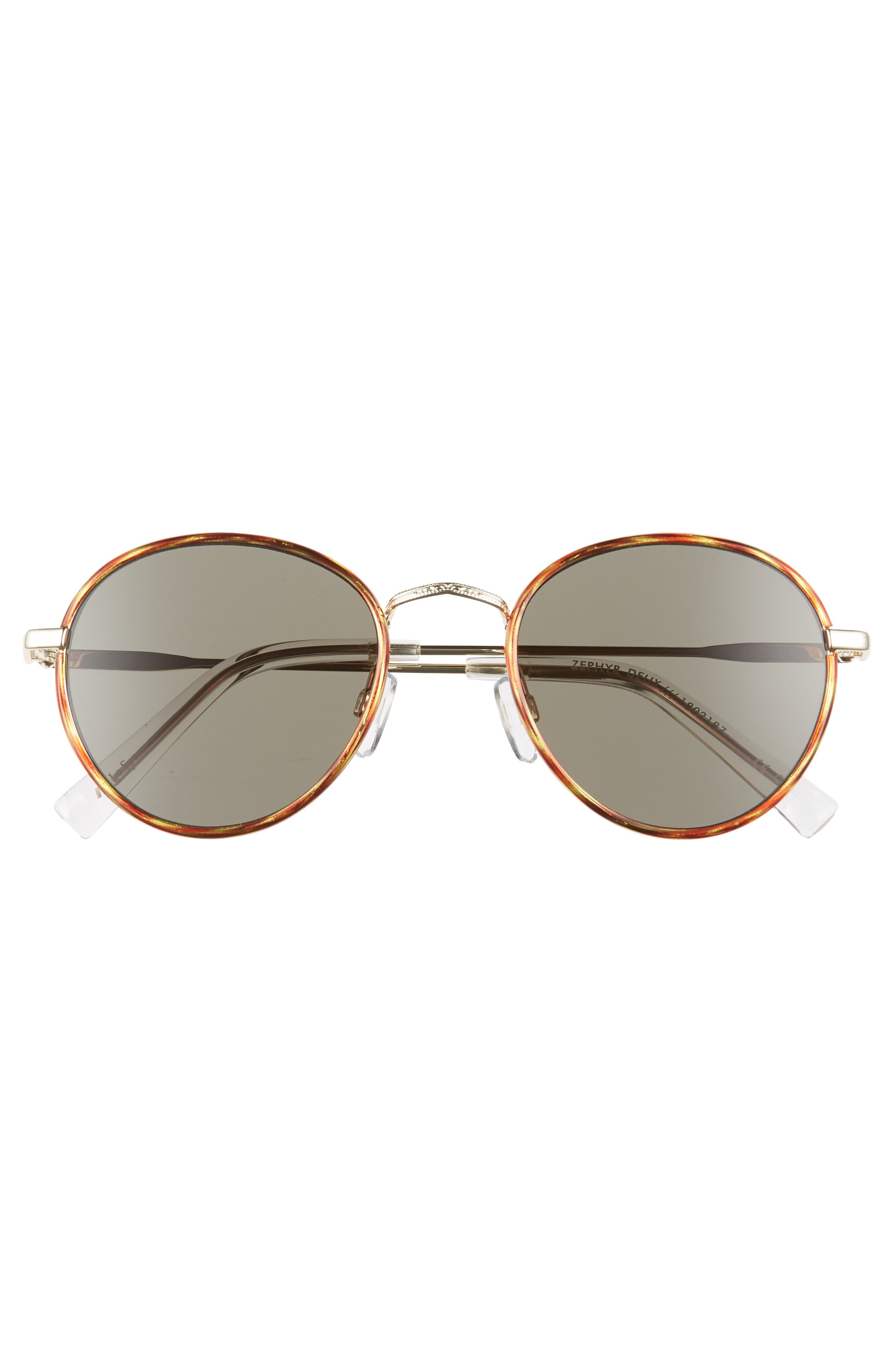 Zephyr Deux 50mm Round Sunglasses,                             Alternate thumbnail 3, color,                             Vintage Tortoise