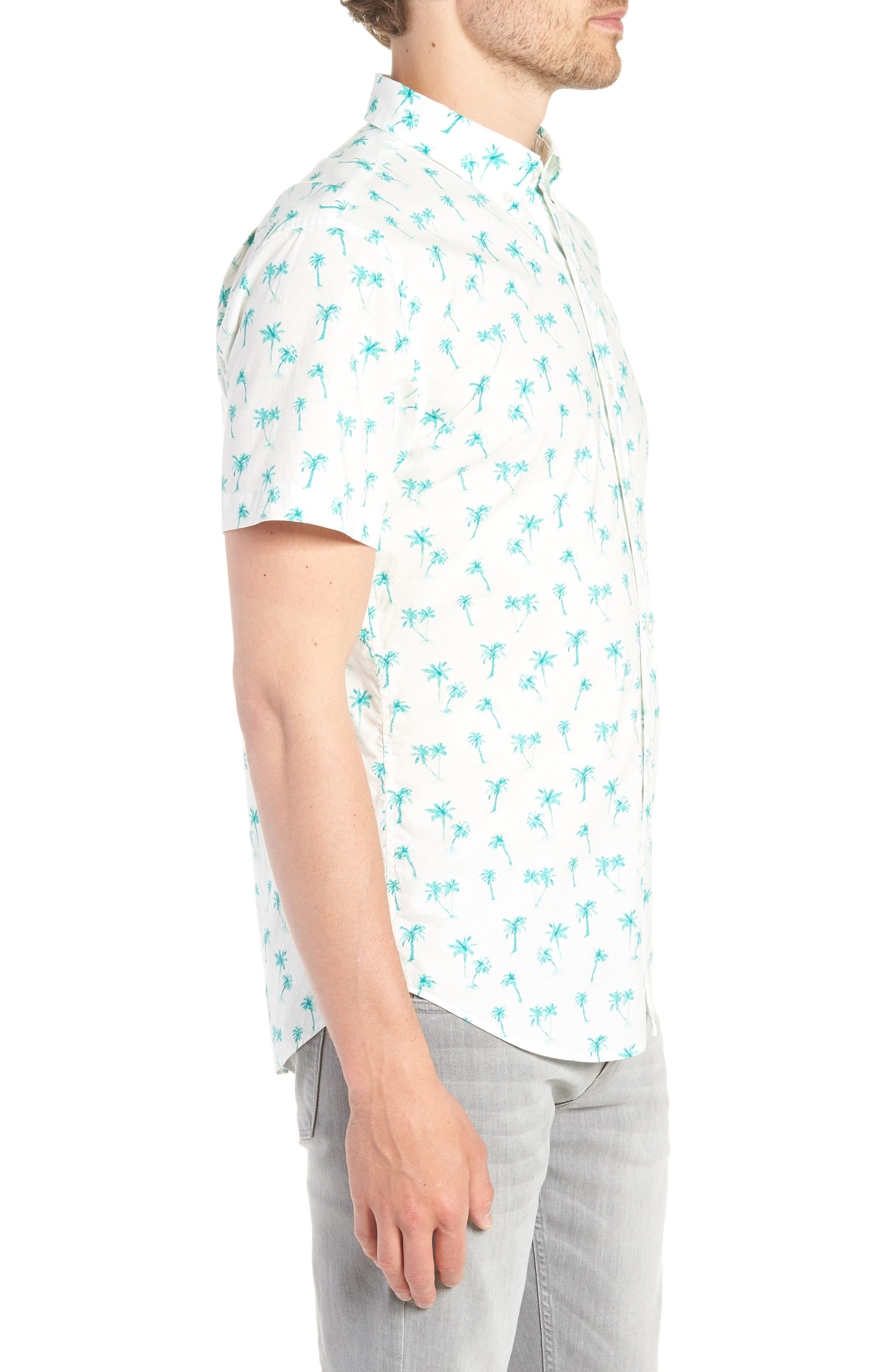 Riviera Slim Fit Palm Print Sport Shirt,                             Alternate thumbnail 4, color,                             Dreamy Palm - Latigo Bay