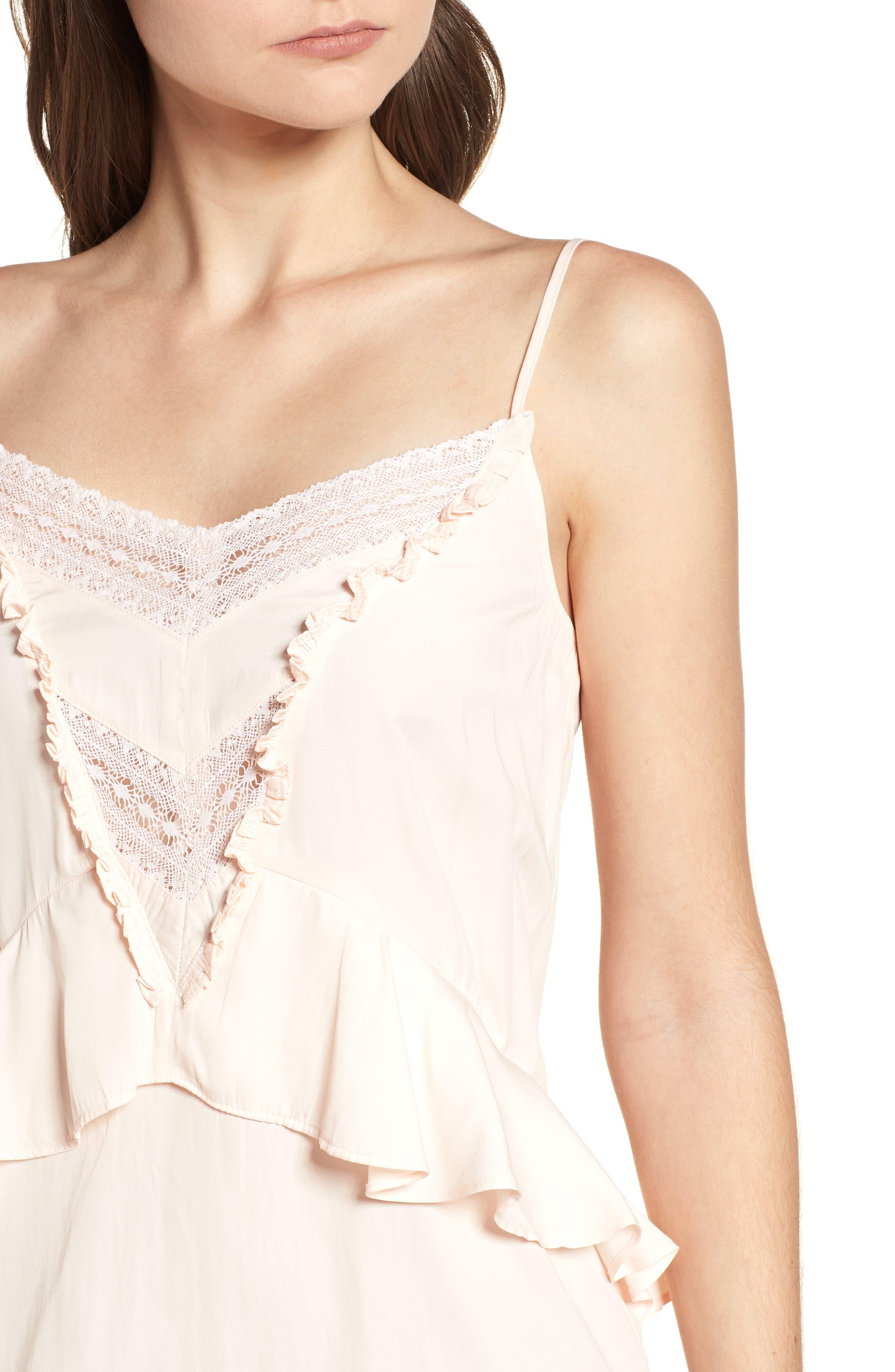 Lace Trim Dress,                             Alternate thumbnail 4, color,                             Pink Scallop