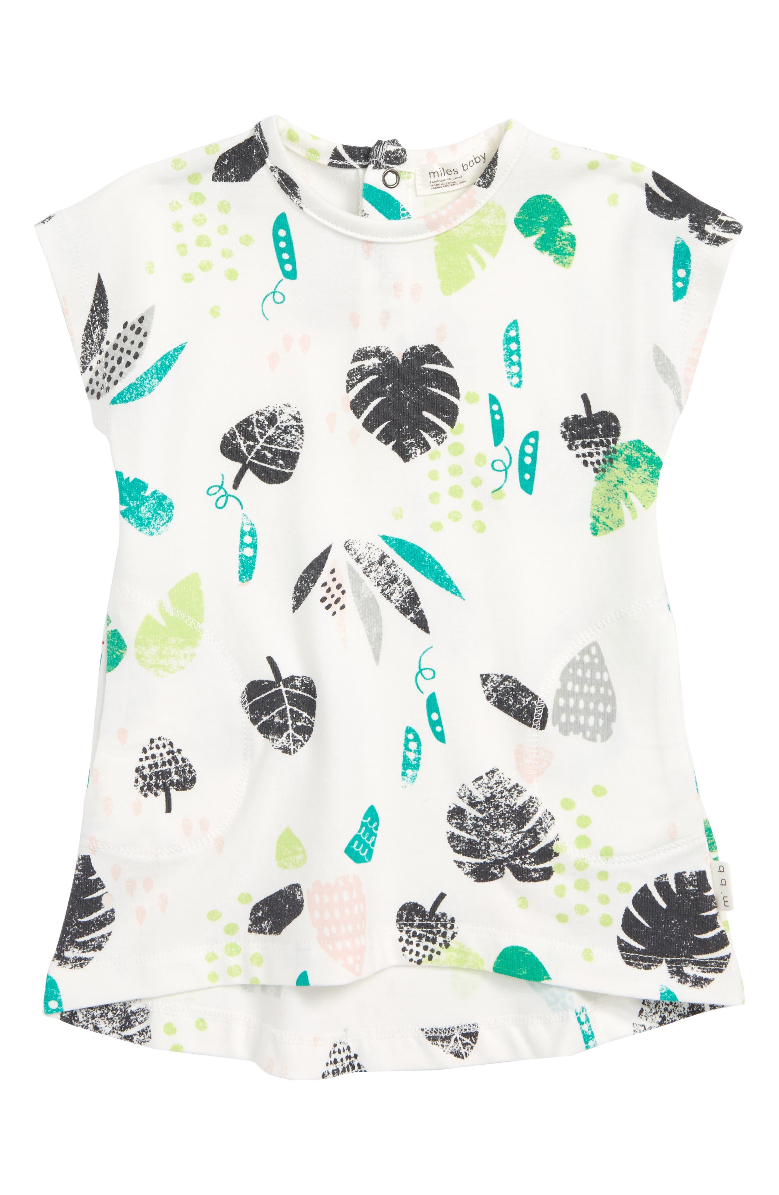 Leaf Print Dress,                         Main,                         color, Off White