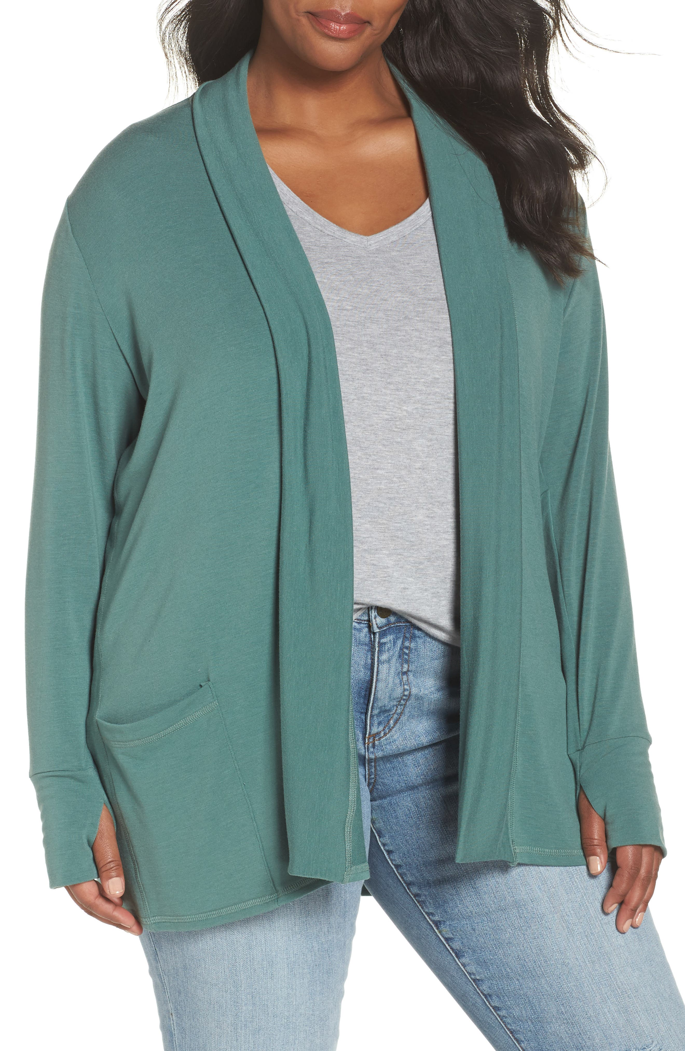 Off-Duty French Terry Cardigan,                         Main,                         color, Green Duck