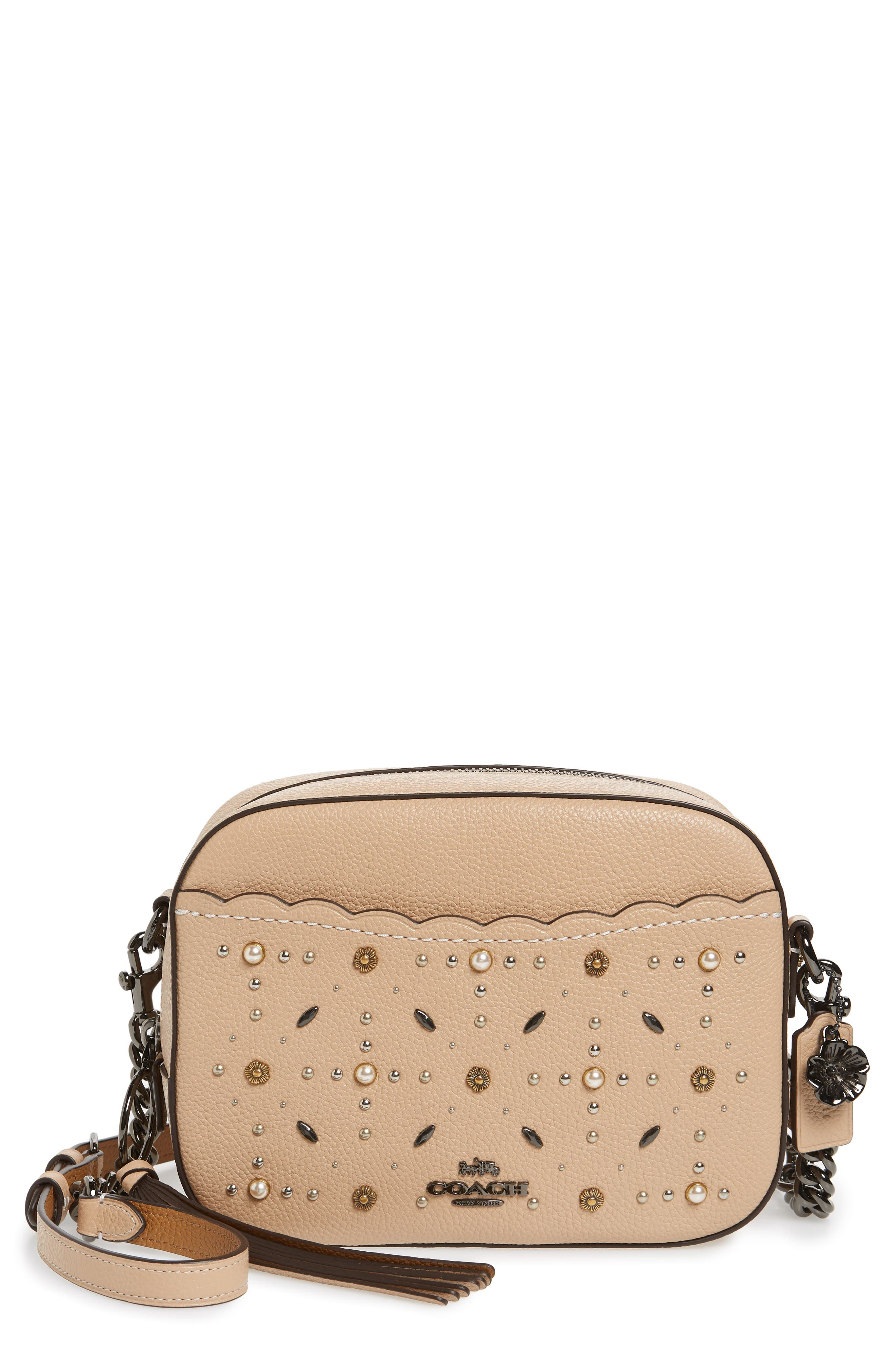 Studded Leather Camera Bag,                             Main thumbnail 1, color,                             Beechwood
