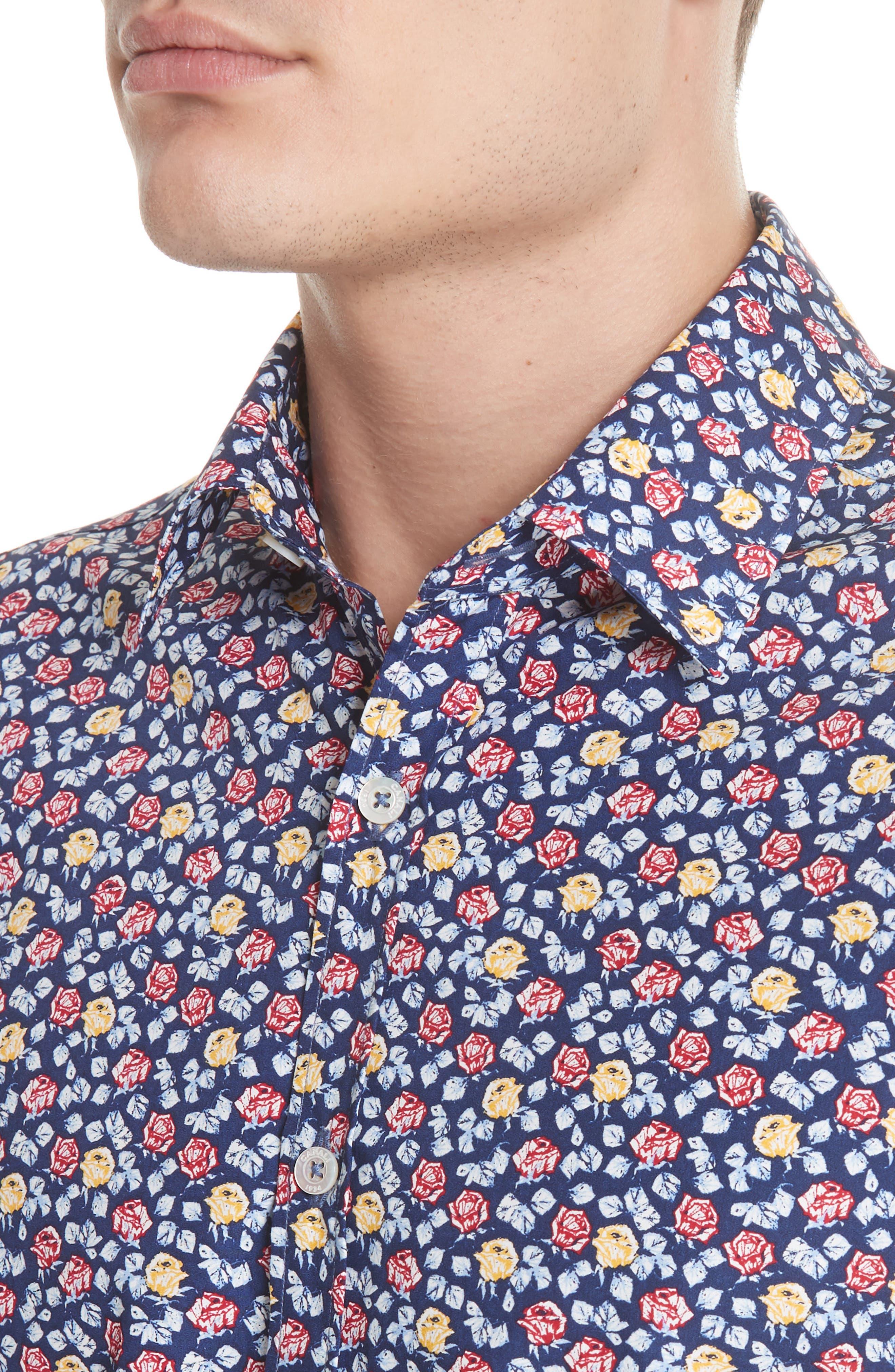 Regular Fit Floral Sport Shirt,                             Alternate thumbnail 2, color,                             Blue