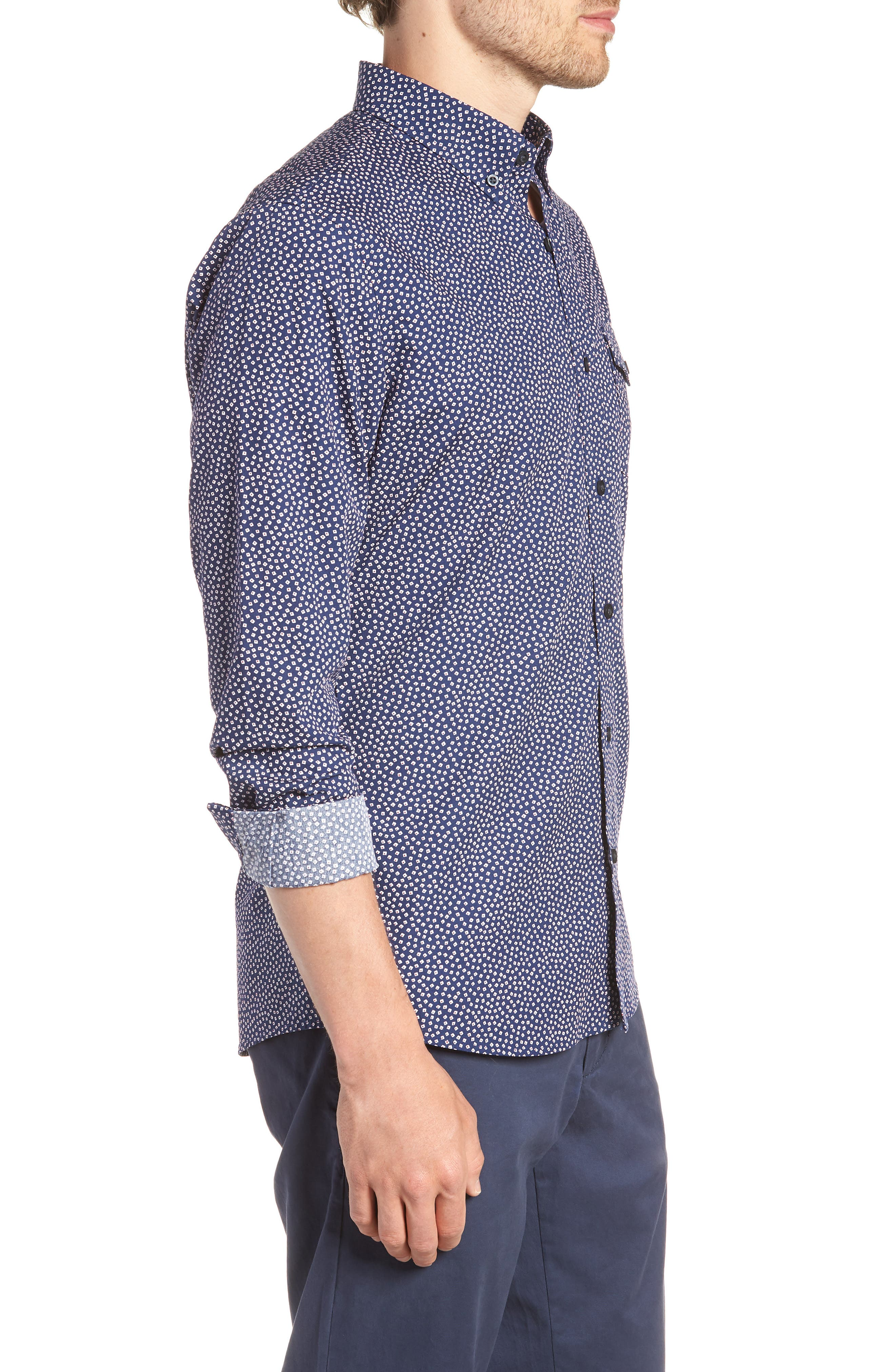 Ivy Trim Fit Print Sport Shirt,                             Alternate thumbnail 4, color,                             Navy Iris Tossed Squares