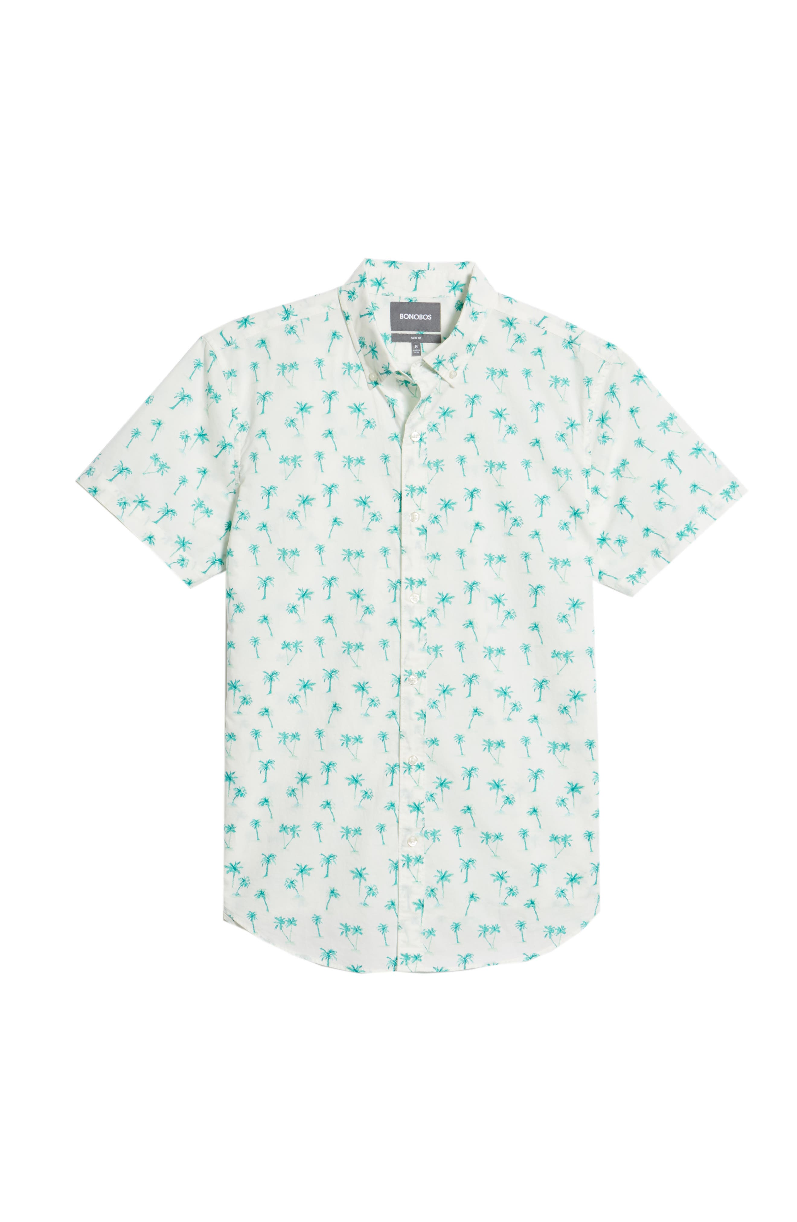 Riviera Slim Fit Palm Print Sport Shirt,                             Alternate thumbnail 6, color,                             Dreamy Palm - Latigo Bay