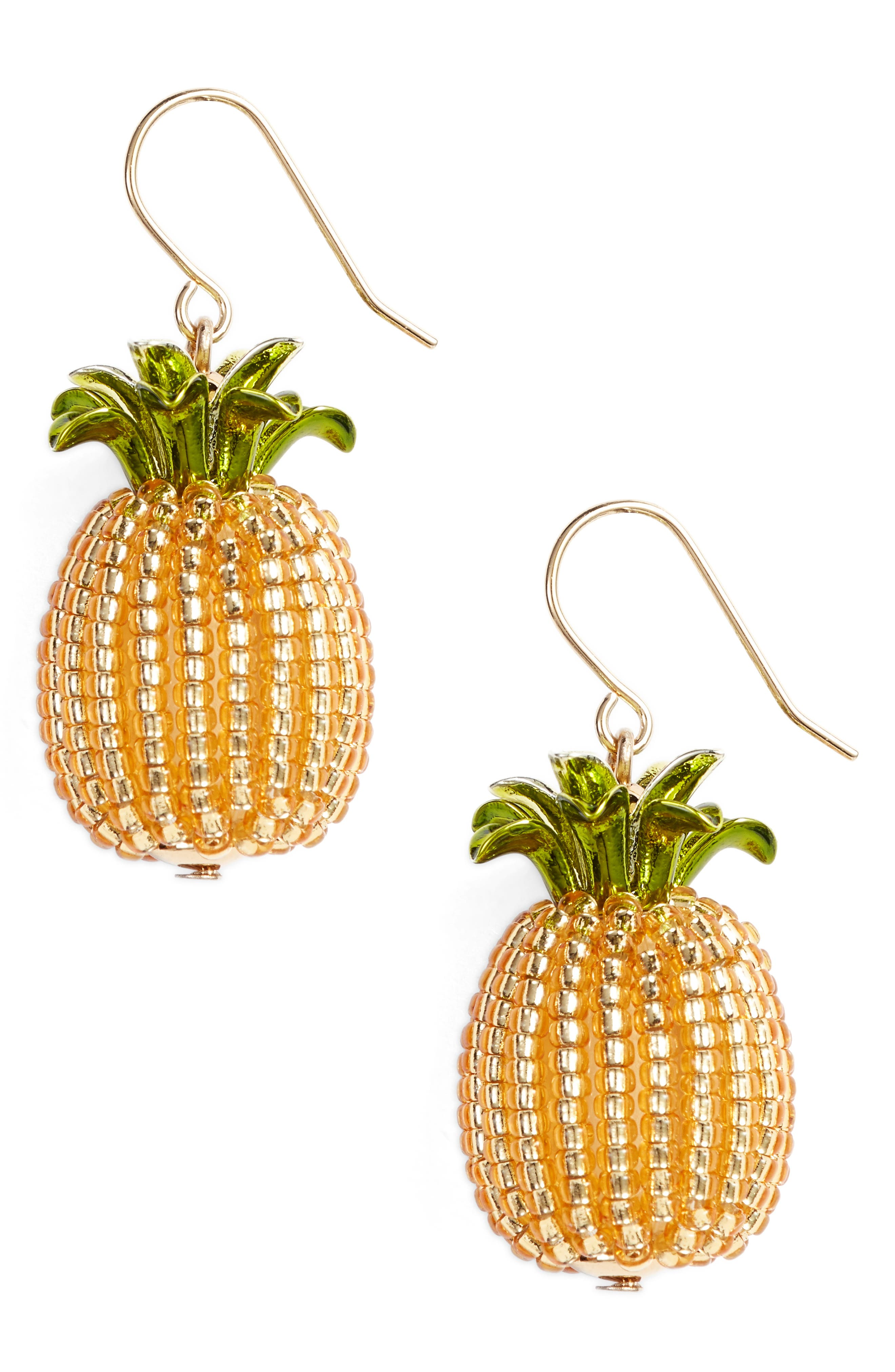 by the pool pineapple drop earrings,                         Main,                         color, Gold Multi