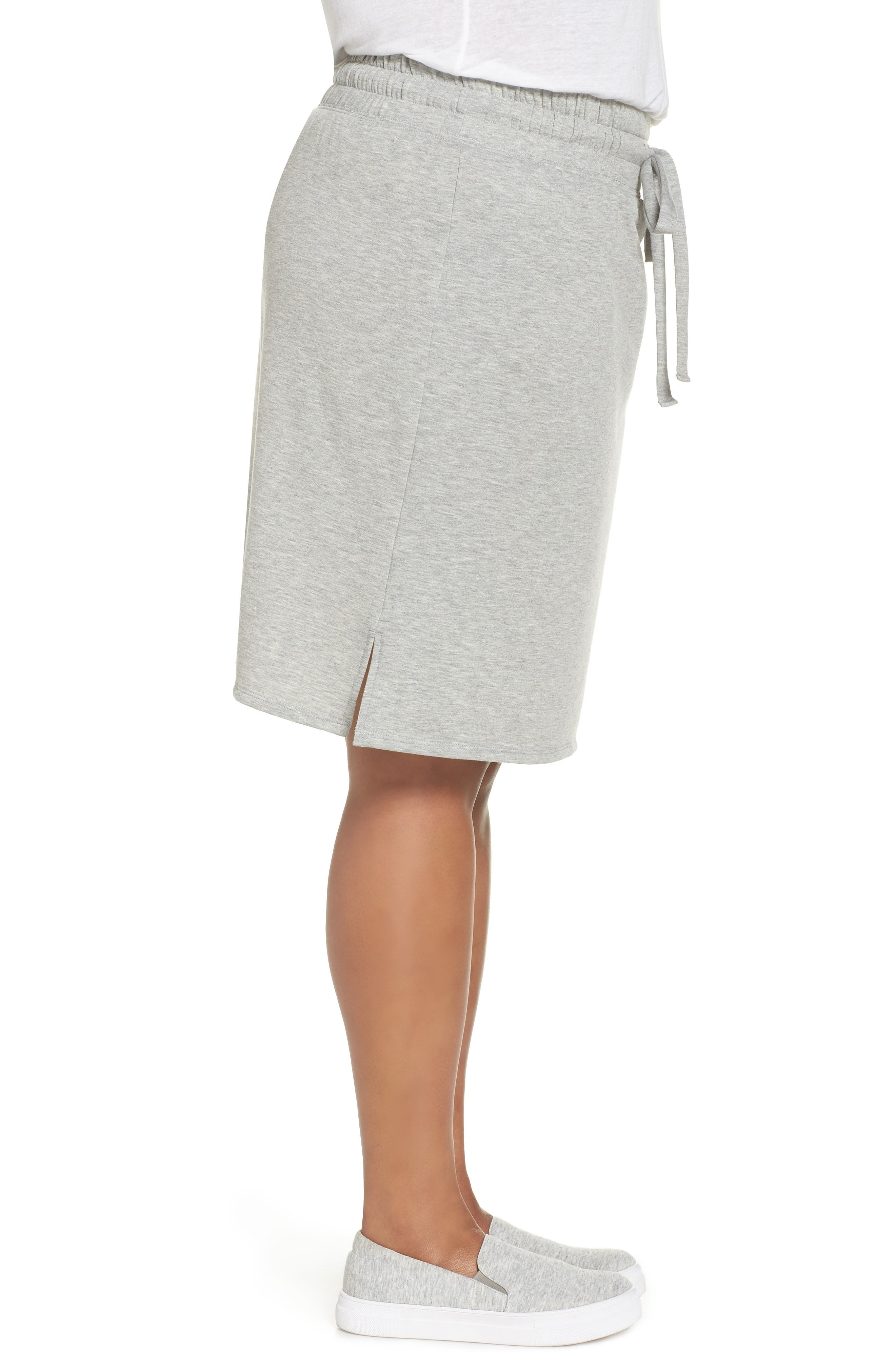 Off-Duty Tie Waist Miniskirt,                             Alternate thumbnail 3, color,                             Grey Heather