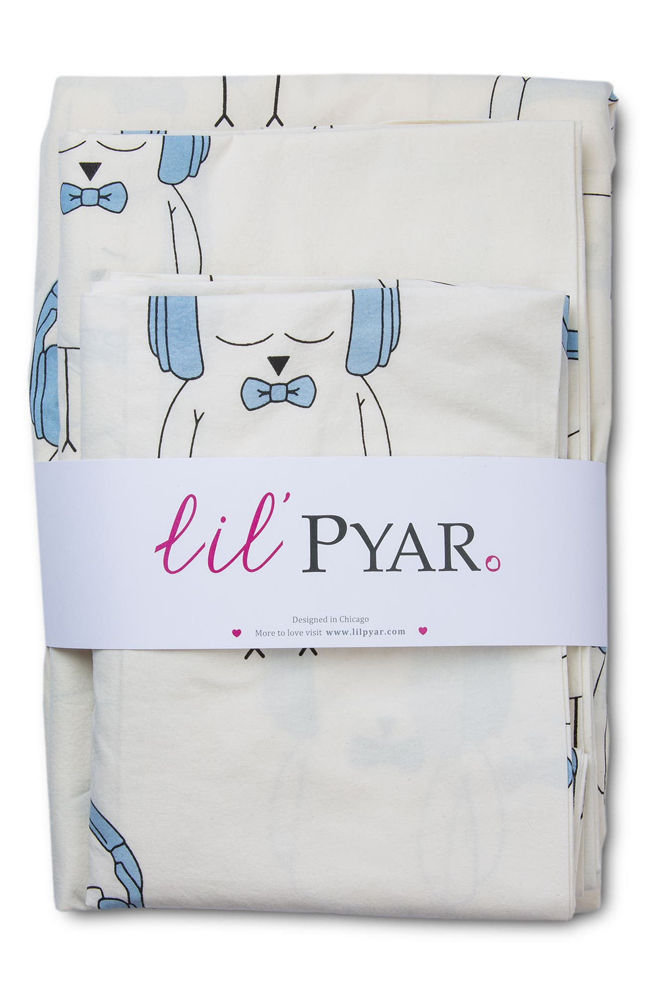 Ollie Twin Sheet & Pillowcase Set,                             Alternate thumbnail 3, color,                             Light Blue