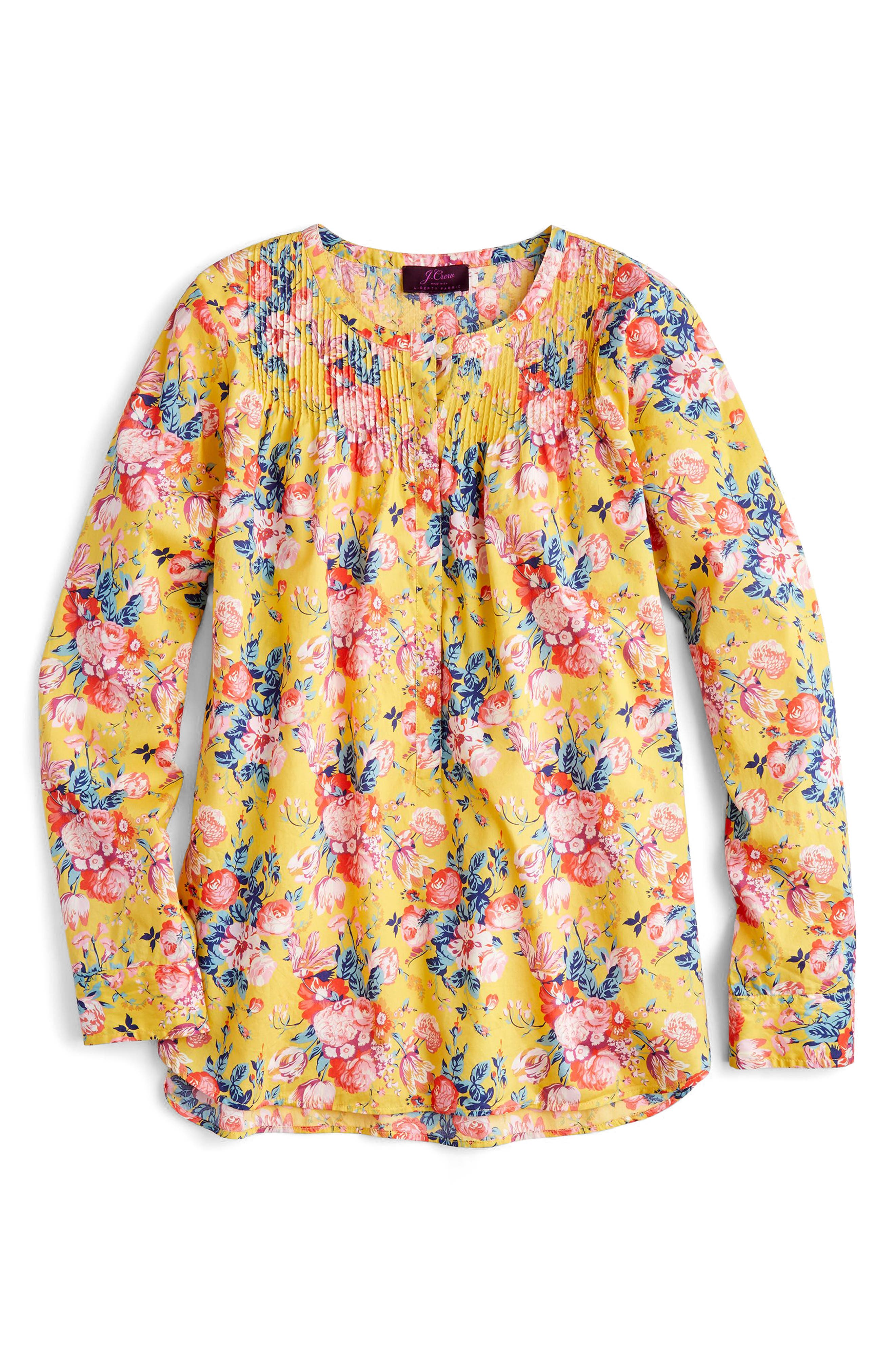 Liberty<sup>®</sup> Magical Bouquet Classic Popover Top,                             Alternate thumbnail 2, color,                             Yellow Multi