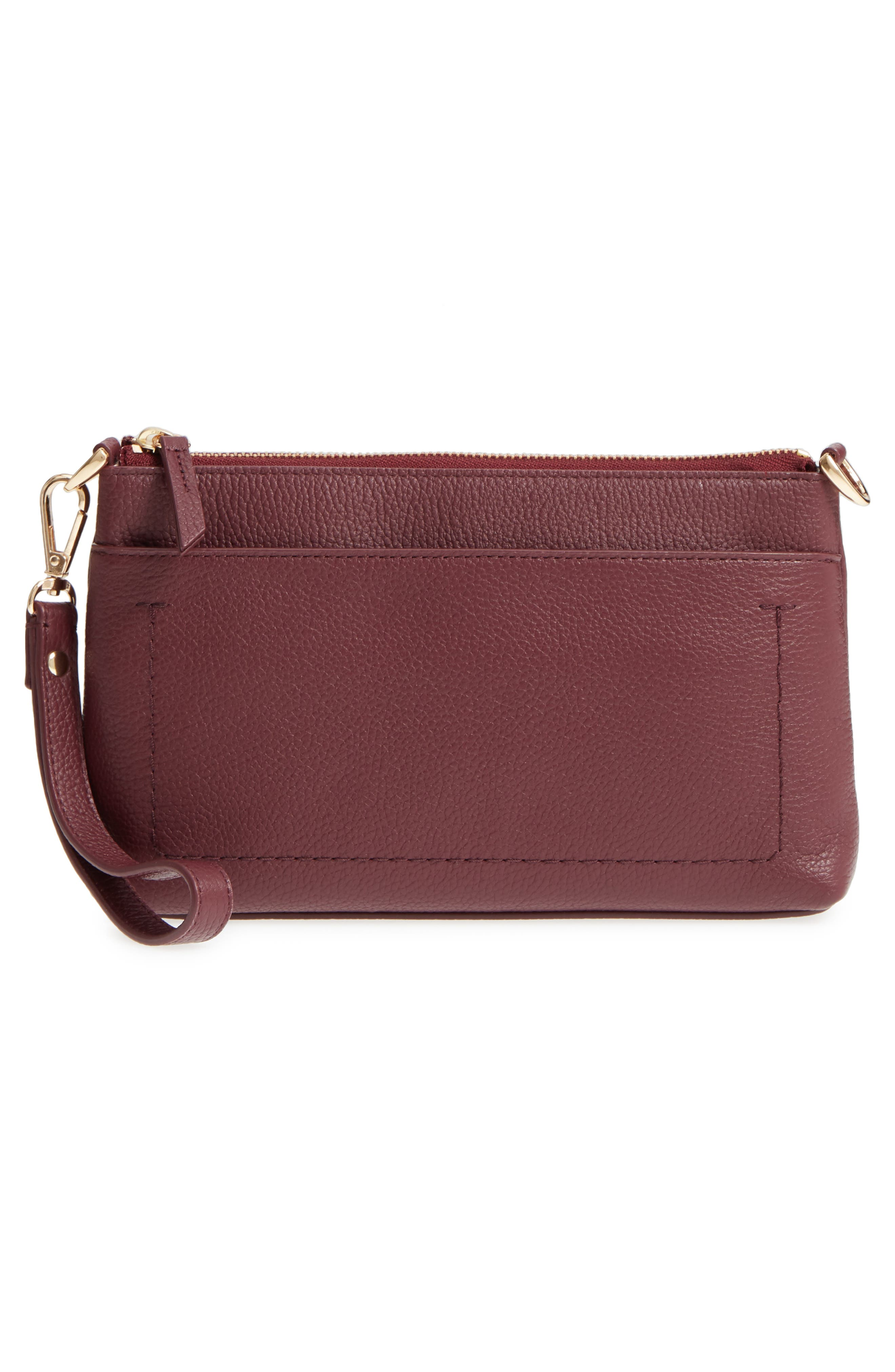 Brixton Convertible Leather Crossbody Bag with Pop-Out Card Holder,                             Alternate thumbnail 3, color,                             Burgundy London