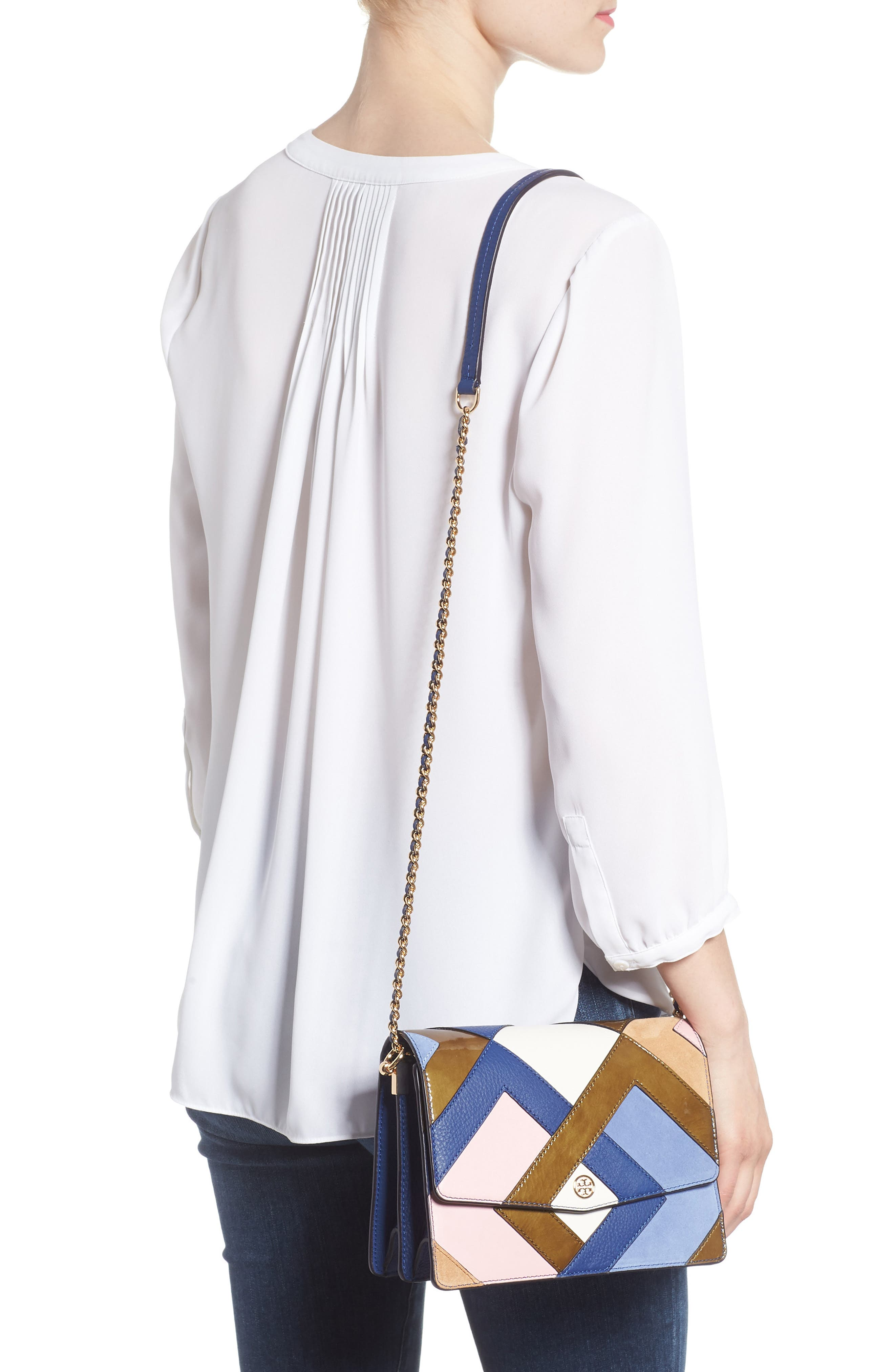Robinson Pieced Shoulder Bag,                             Alternate thumbnail 2, color,                             Navy Multi