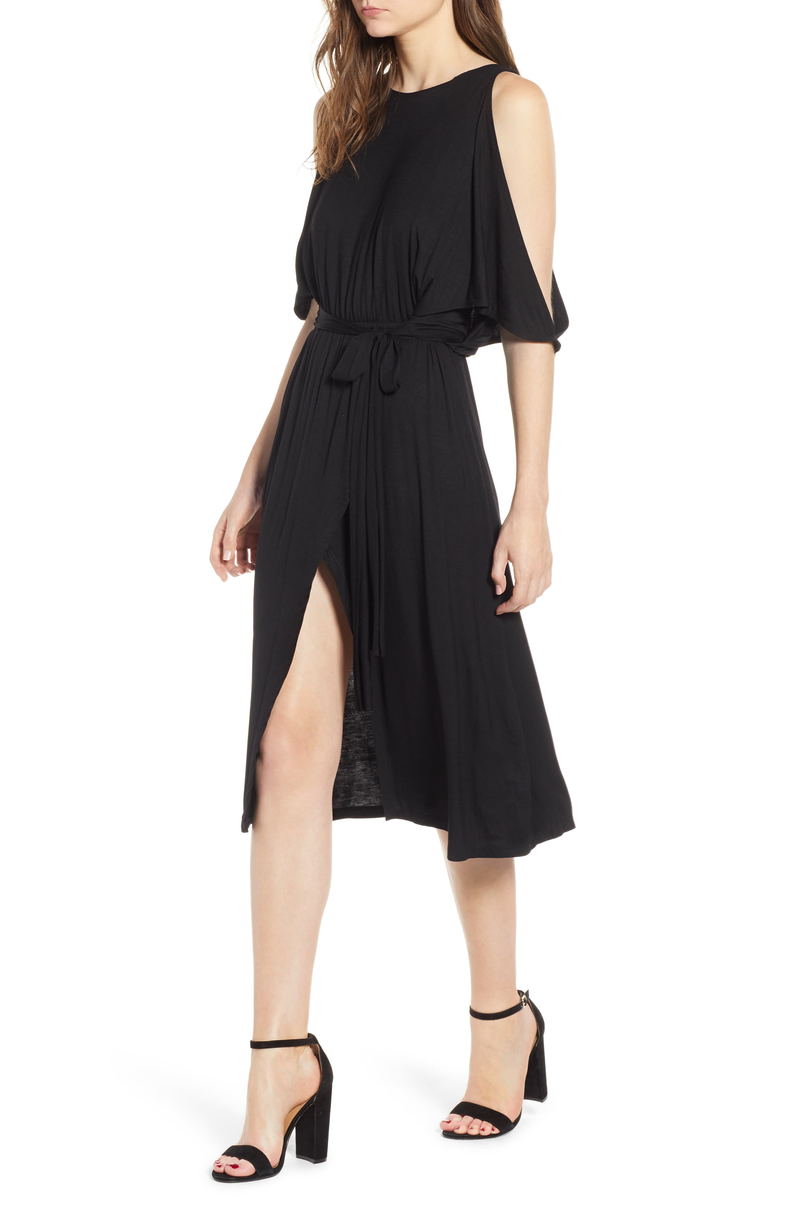 Bishop + Young Slit Sleeve Wrap Style Dress,                             Main thumbnail 1, color,                             Black